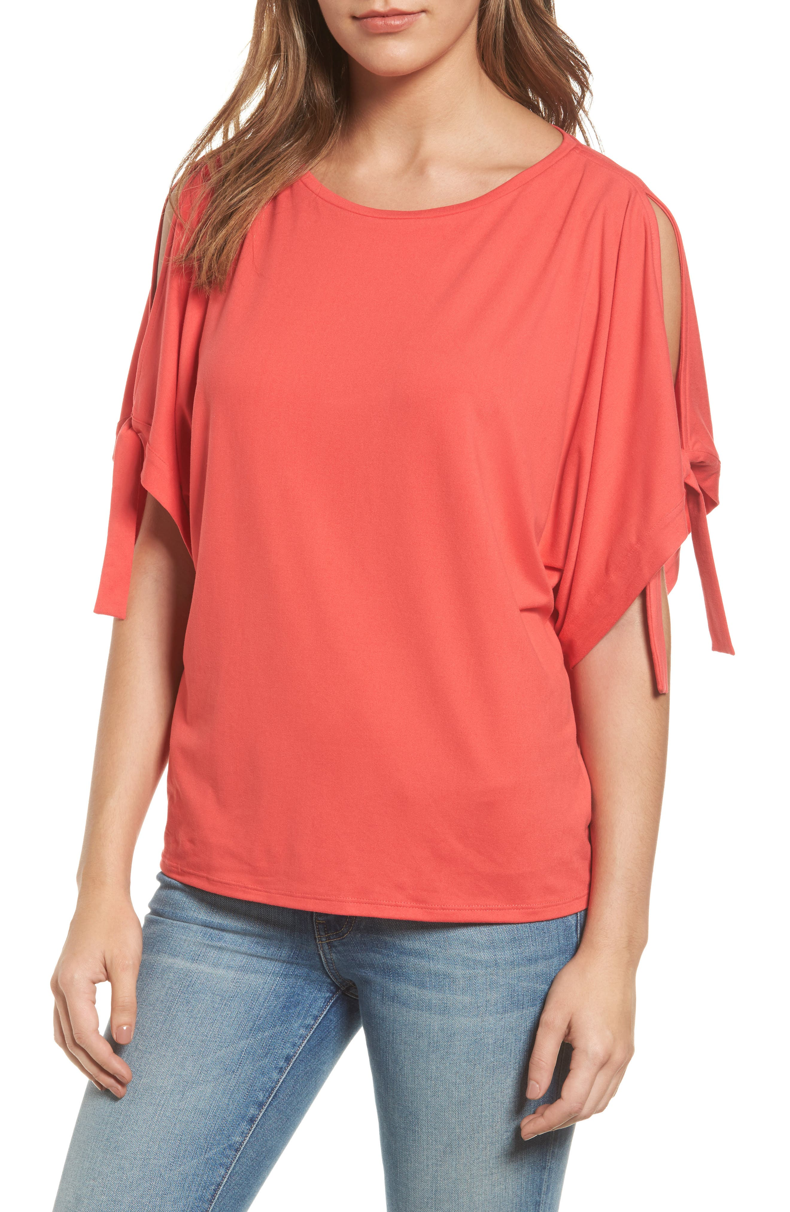 Stretch Knit Top,                         Main,                         color, Pink Teaberry