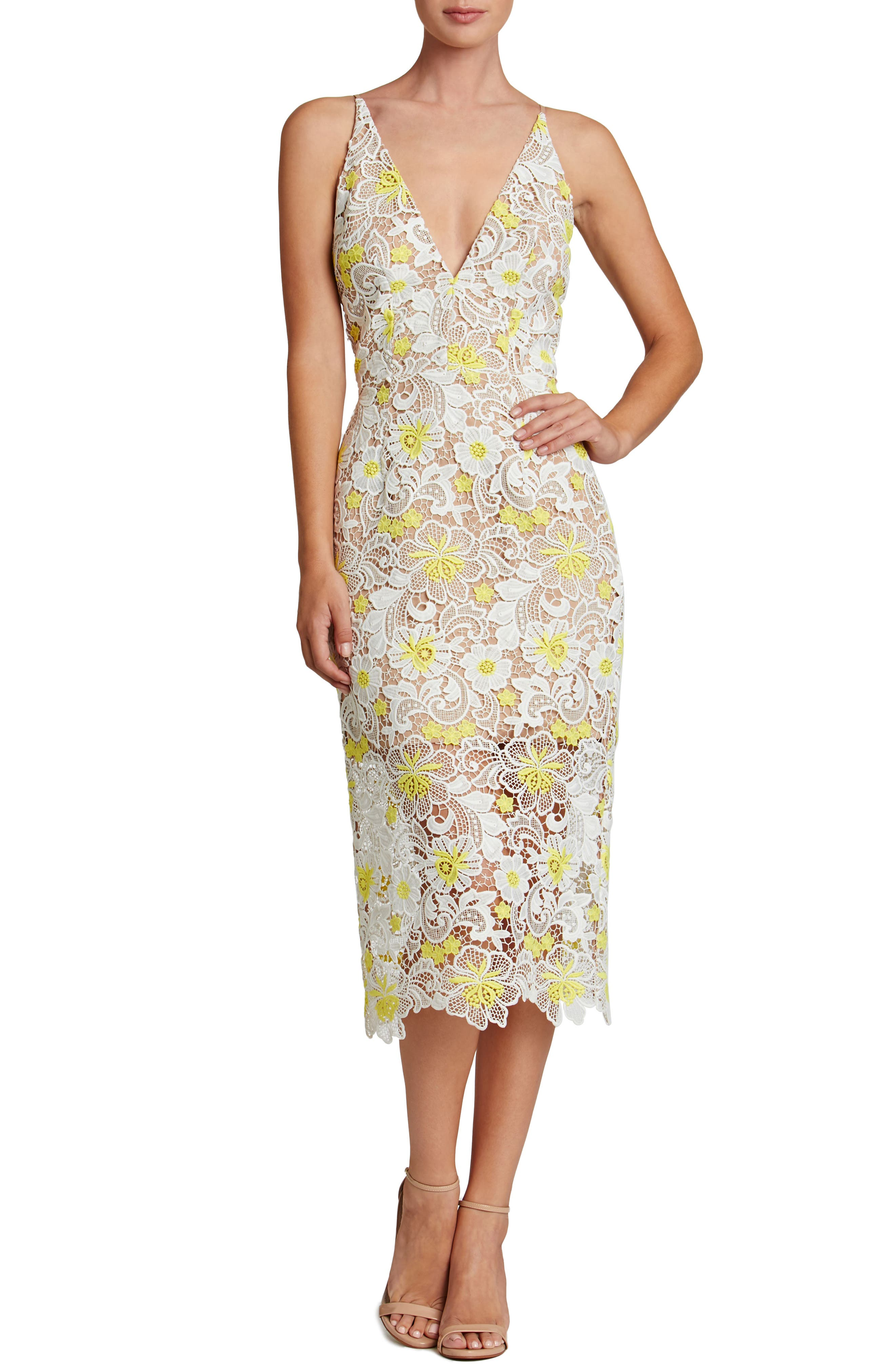 Aurora Floral Midi Dress,                         Main,                         color, White/ Yellow Floral