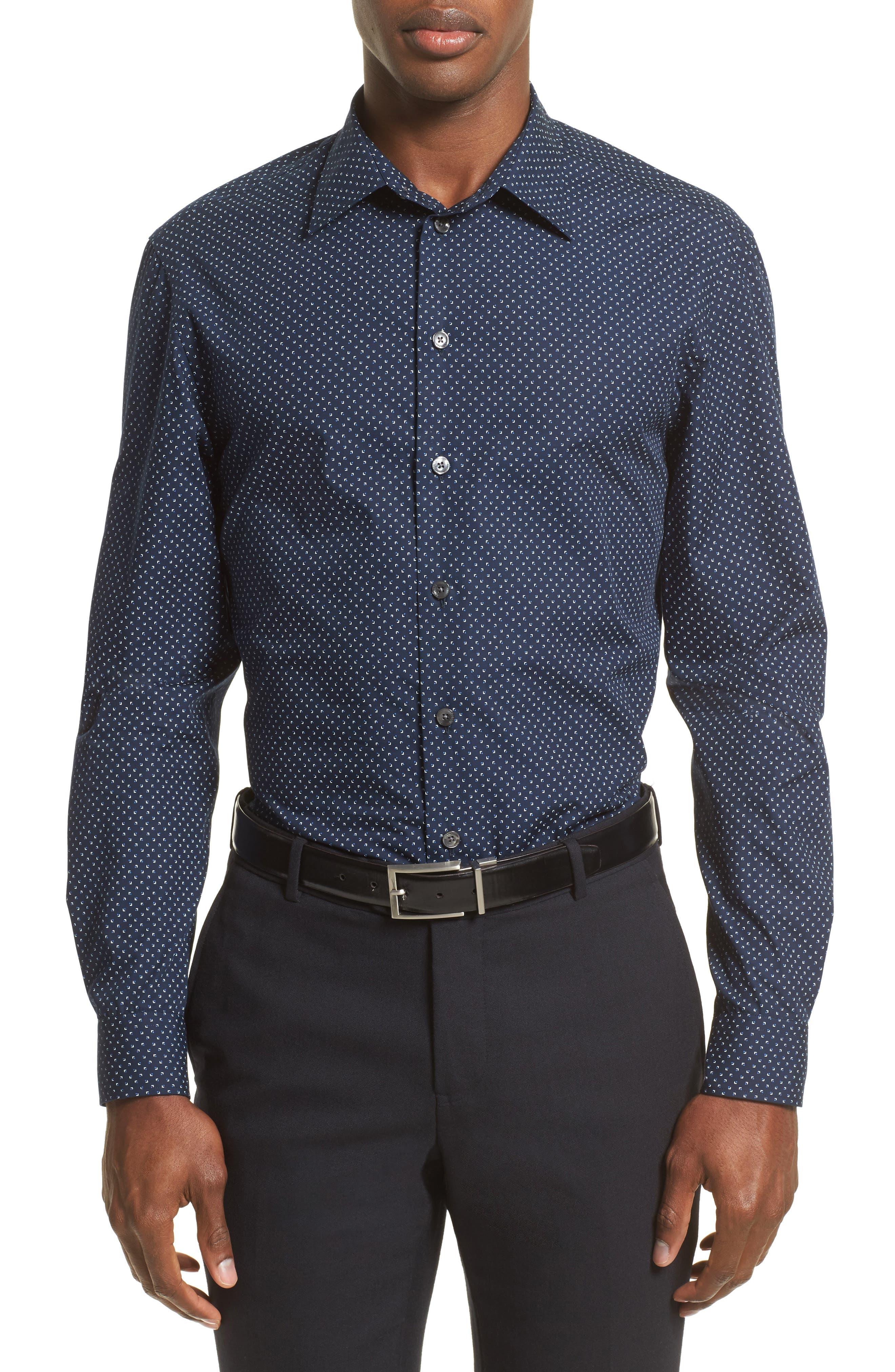 Armani Collezioni Regular Fit Micro Print Sport Shirt