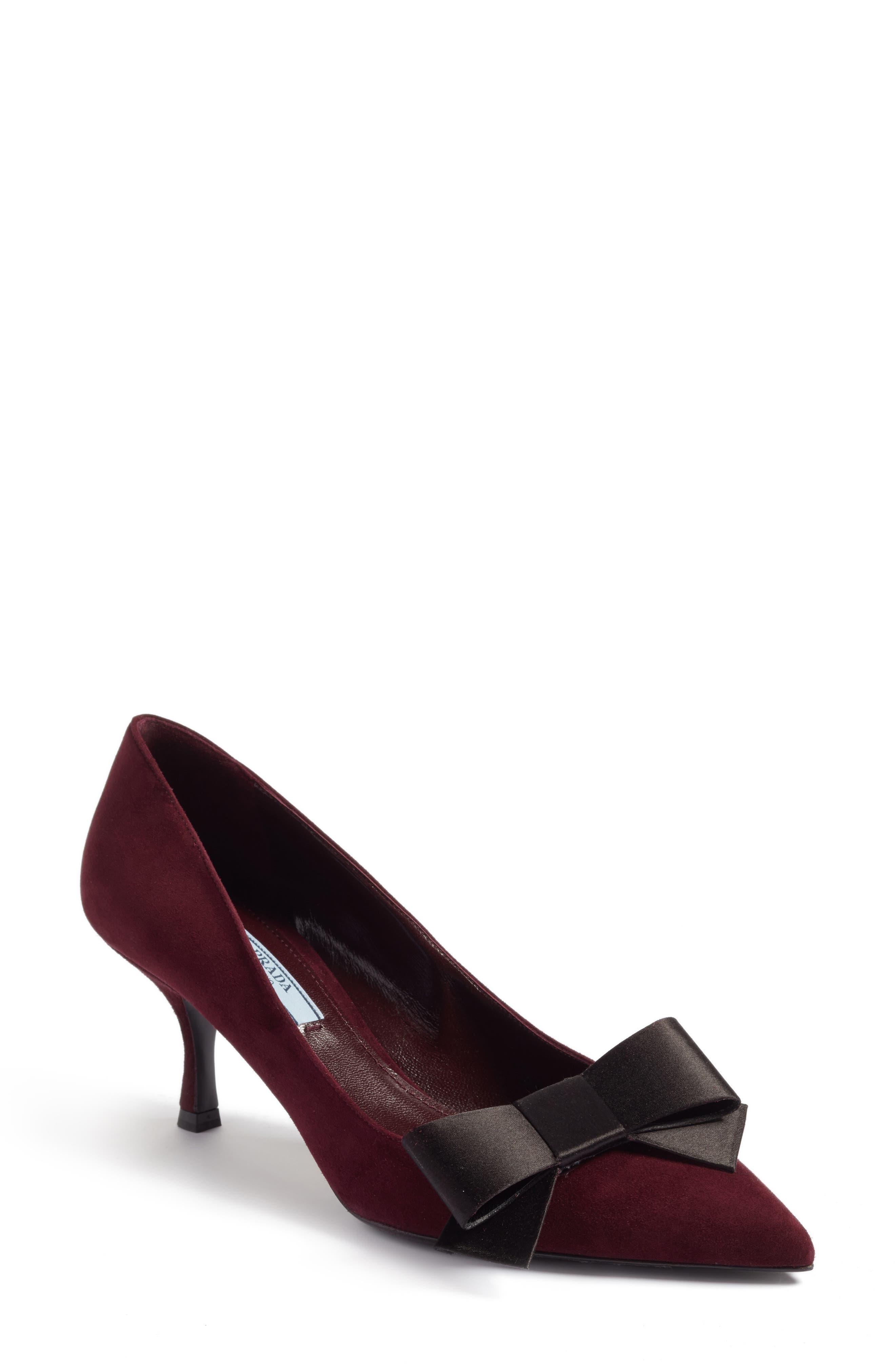 Alternate Image 1 Selected - Prada Bow Pointy Toe Pump (Women)