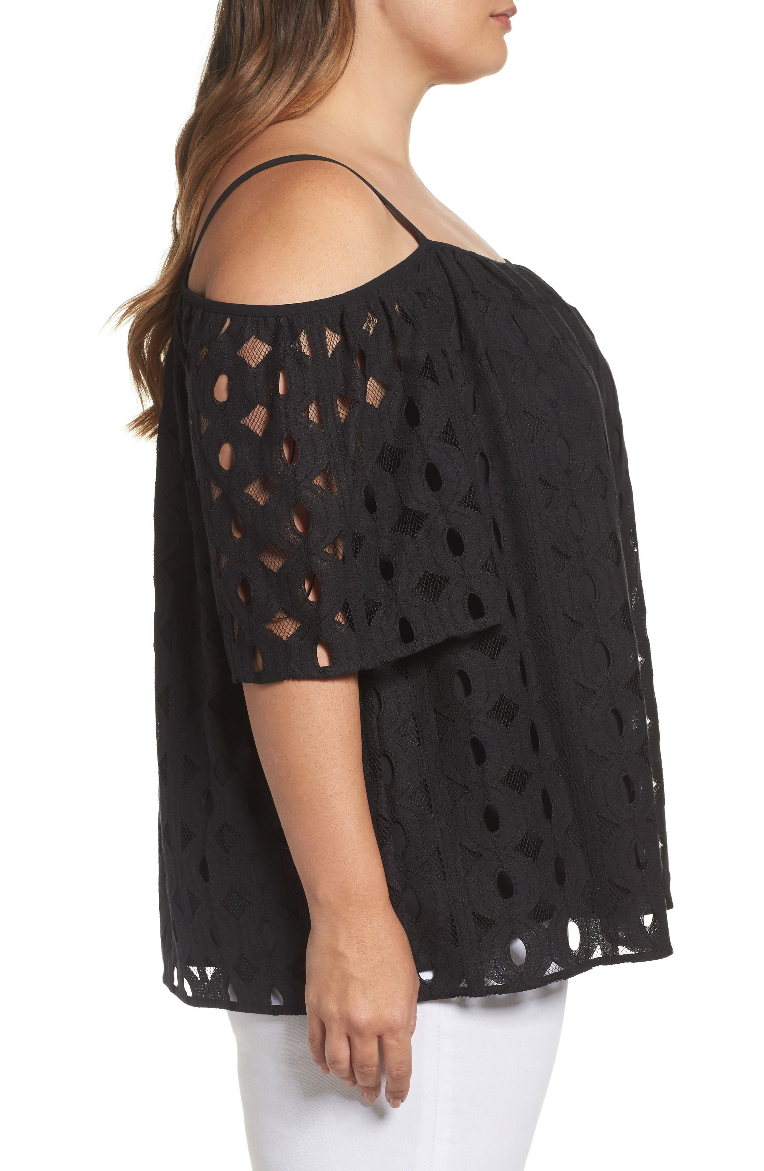 Cable Lace Off the Shoulder Top,                             Alternate thumbnail 3, color,                             Rich Black