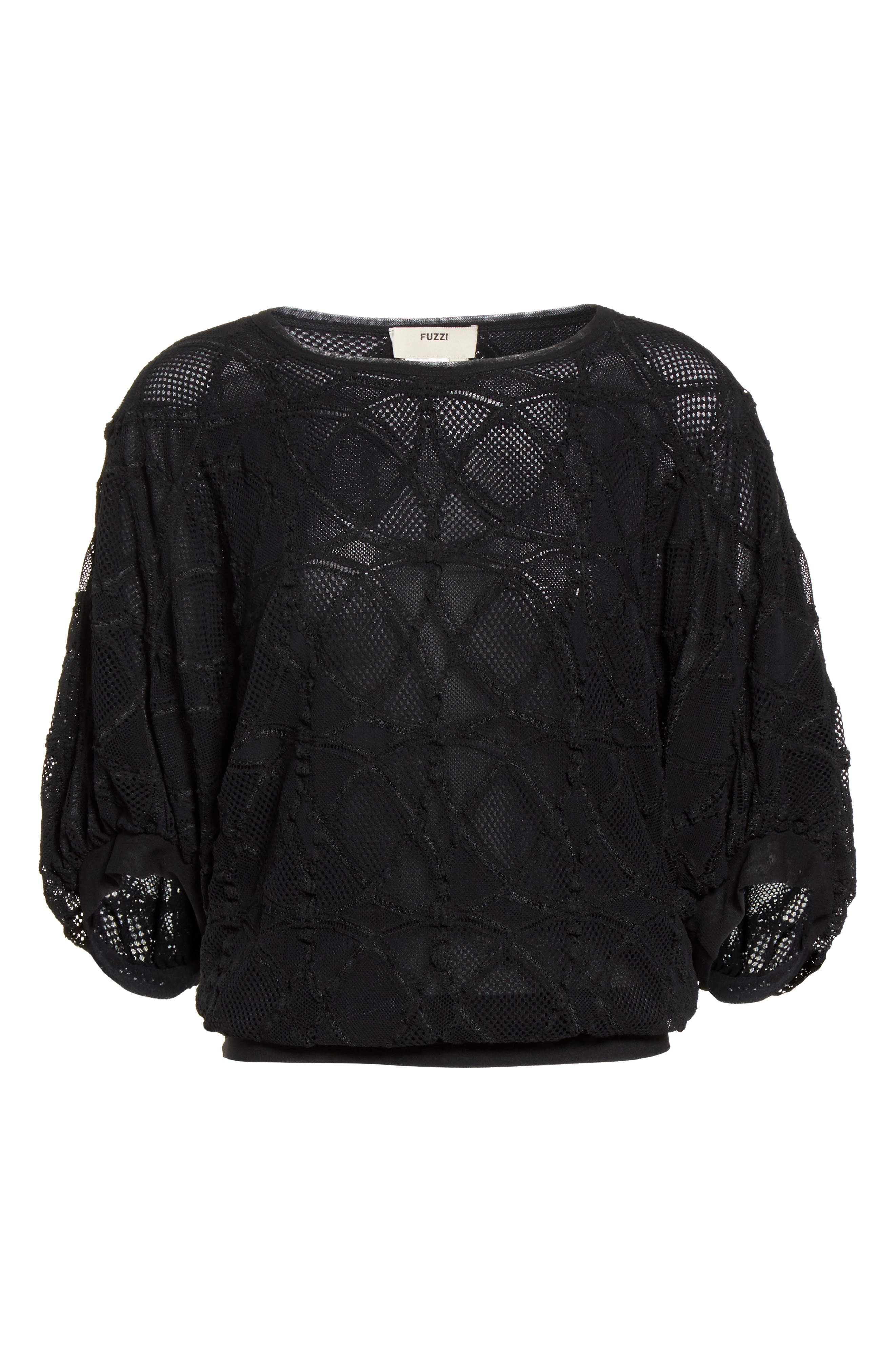 Lace Cocoon Sleeve Top,                             Alternate thumbnail 4, color,                             Nero