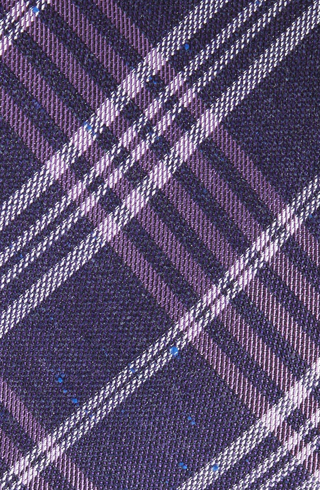 School Plaid Silk & Cotton Tie,                             Alternate thumbnail 2, color,                             Purple