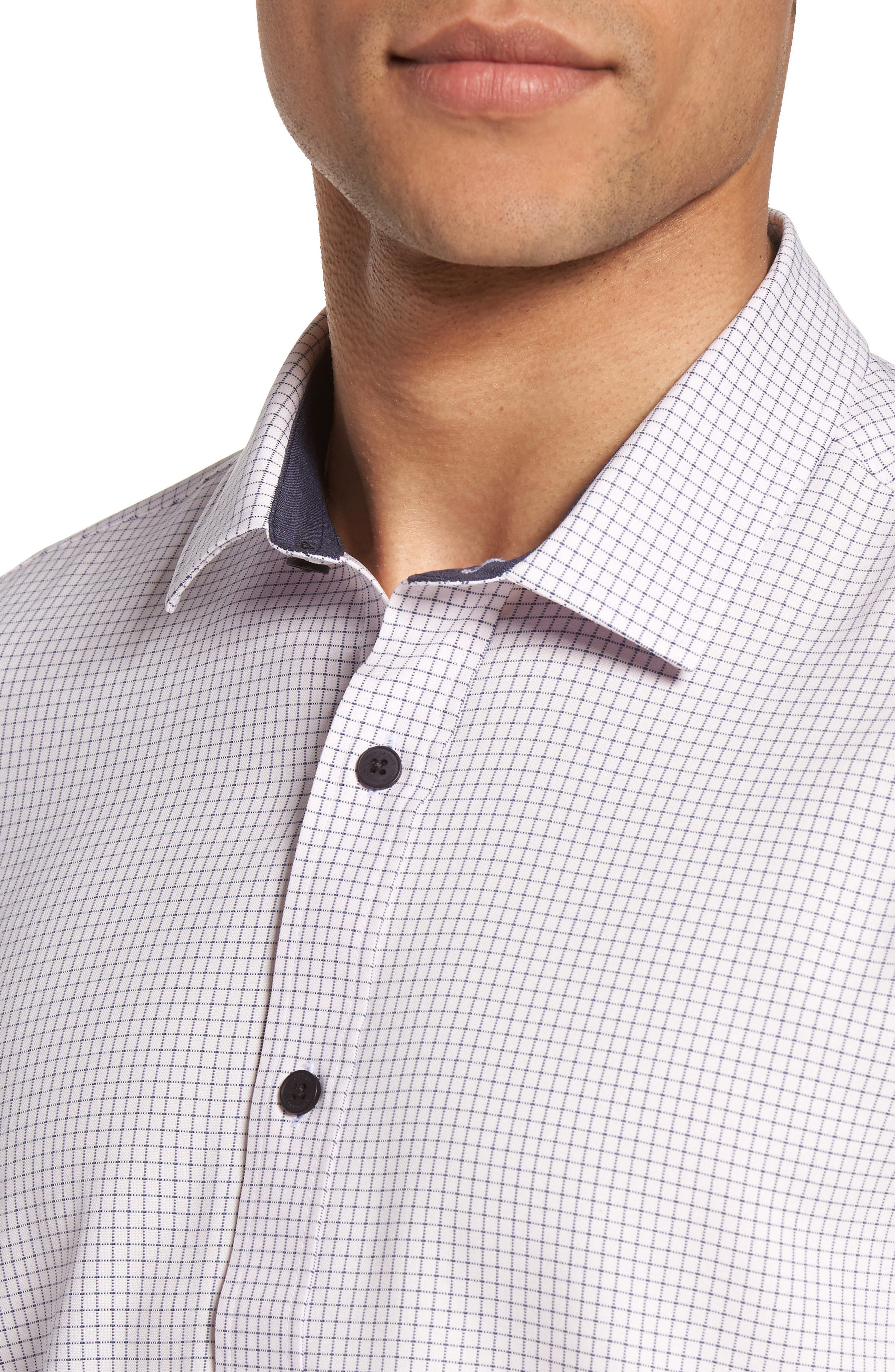 Check Sport Shirt,                             Alternate thumbnail 4, color,                             Heather Rose Check