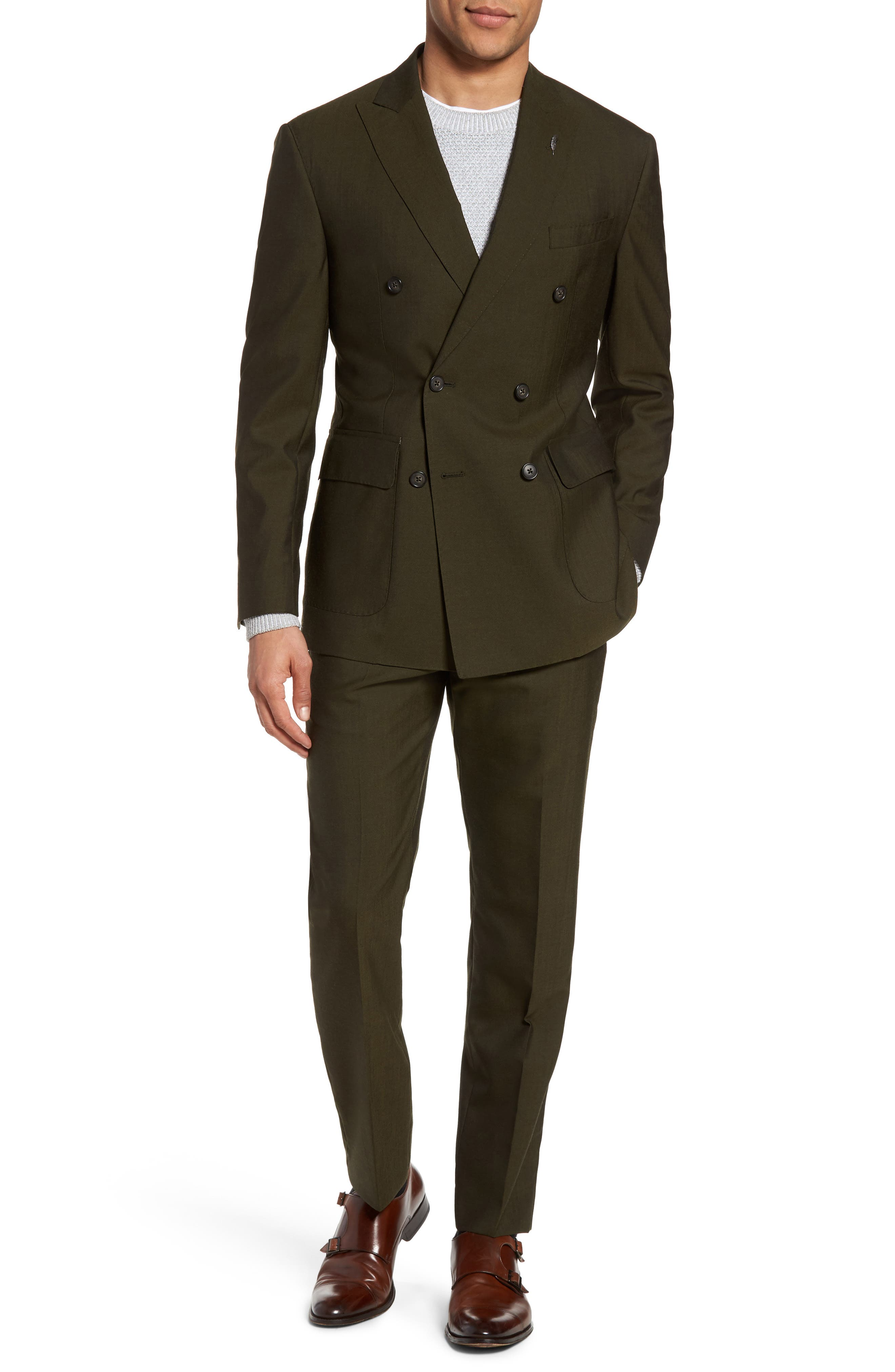 Classic Fit Double Breasted Solid Wool Suit,                         Main,                         color, Olive Green