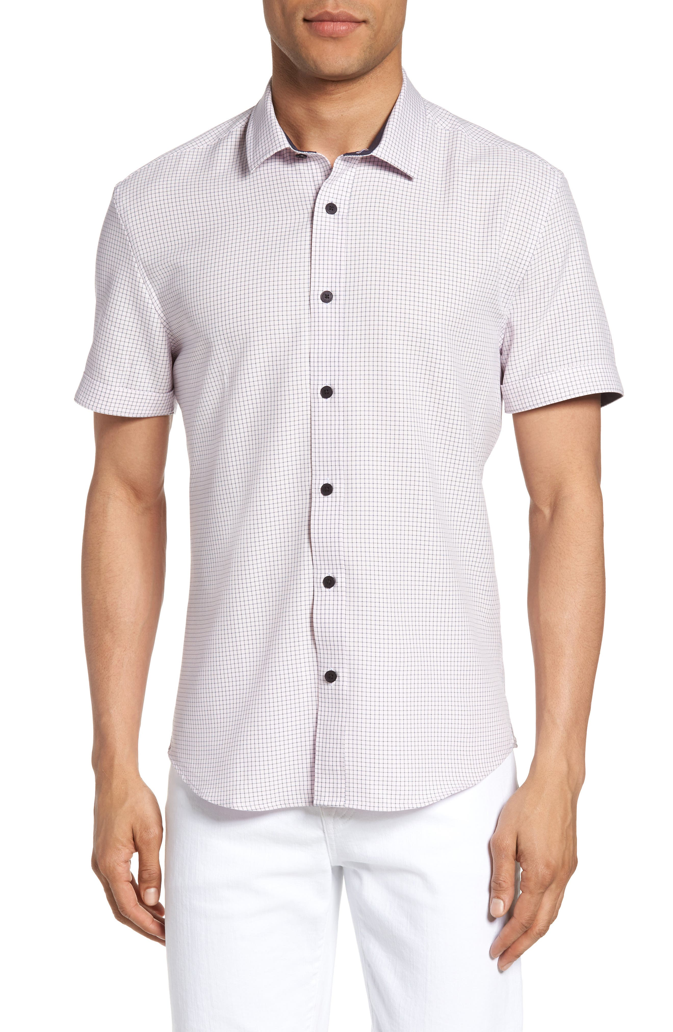 Check Sport Shirt,                         Main,                         color, Heather Rose Check