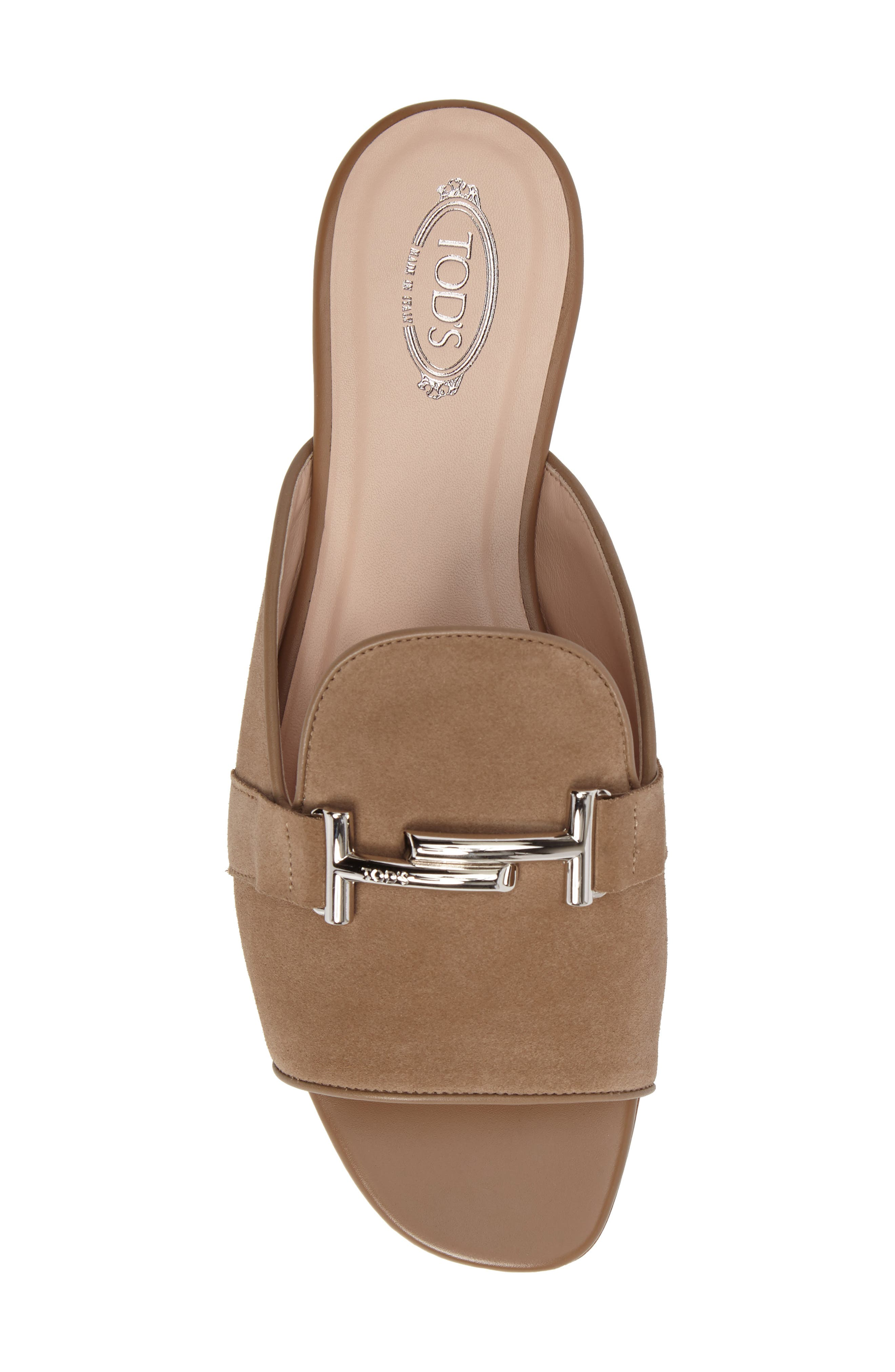Double T Open Toe Loafer Mule,                             Alternate thumbnail 4, color,                             Tan
