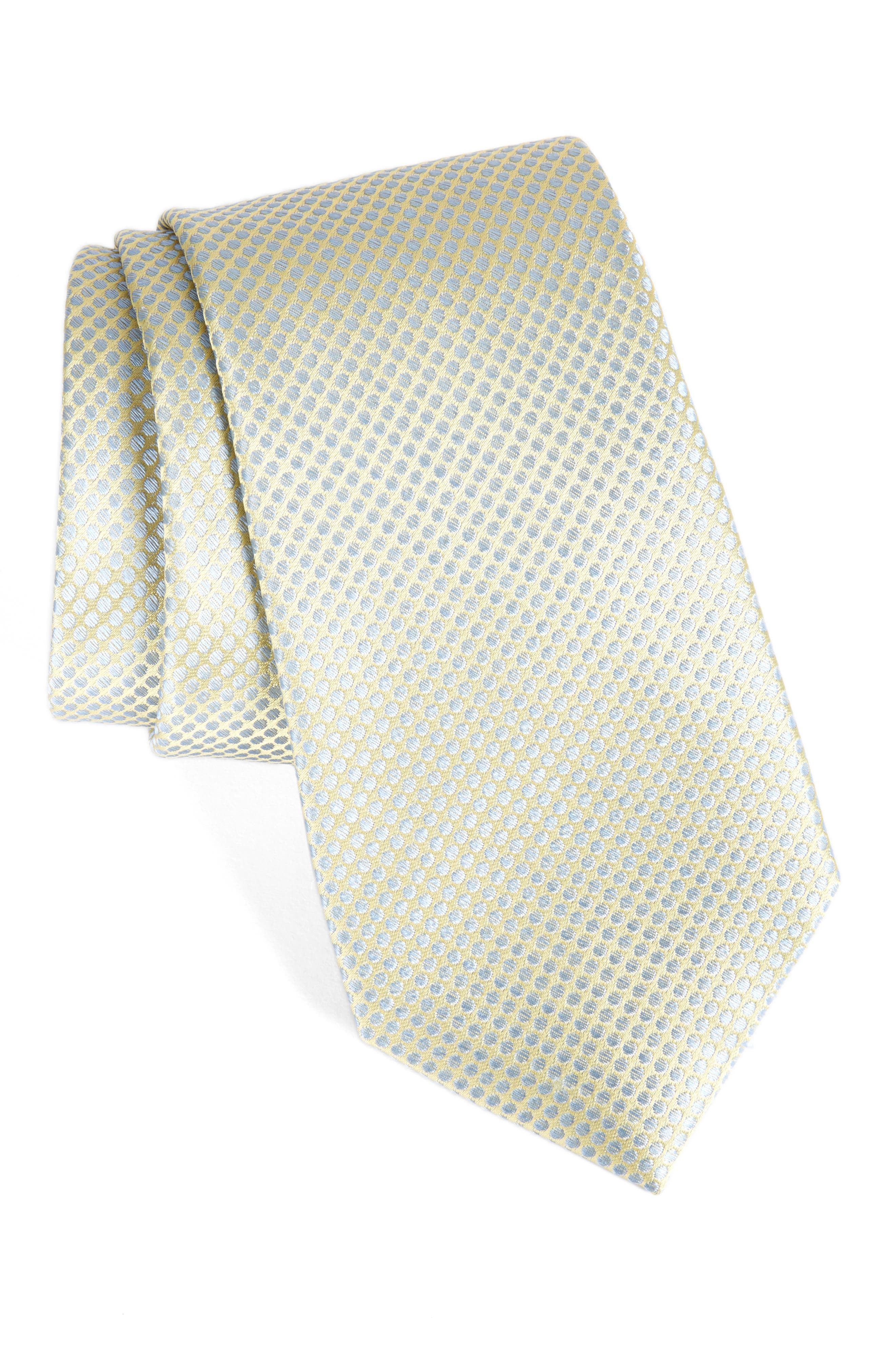 Saturated Dot Silk Tie,                         Main,                         color, Yellow