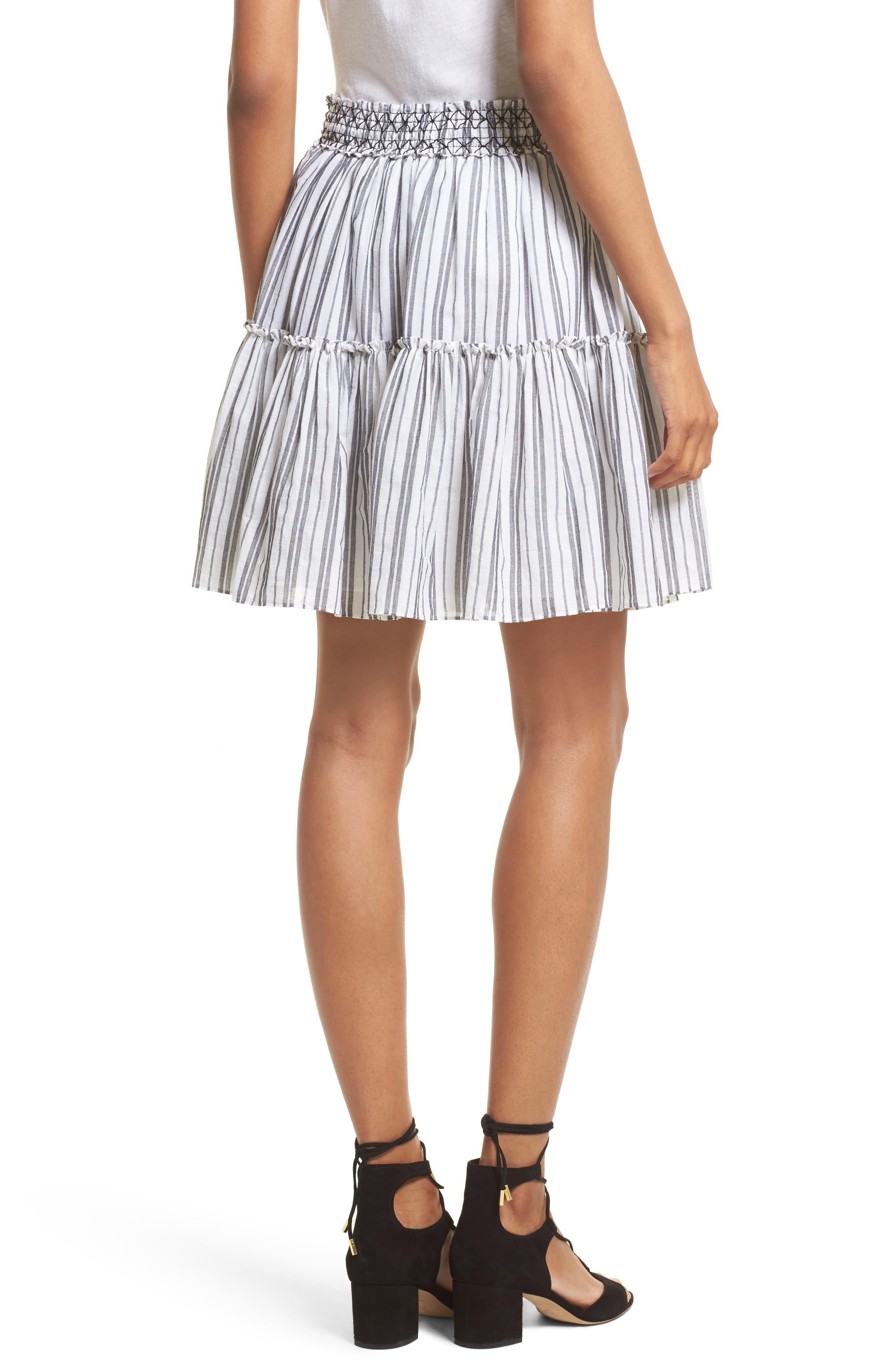 stripe miniskirt,                             Alternate thumbnail 2, color,                             Fresh White/ Black