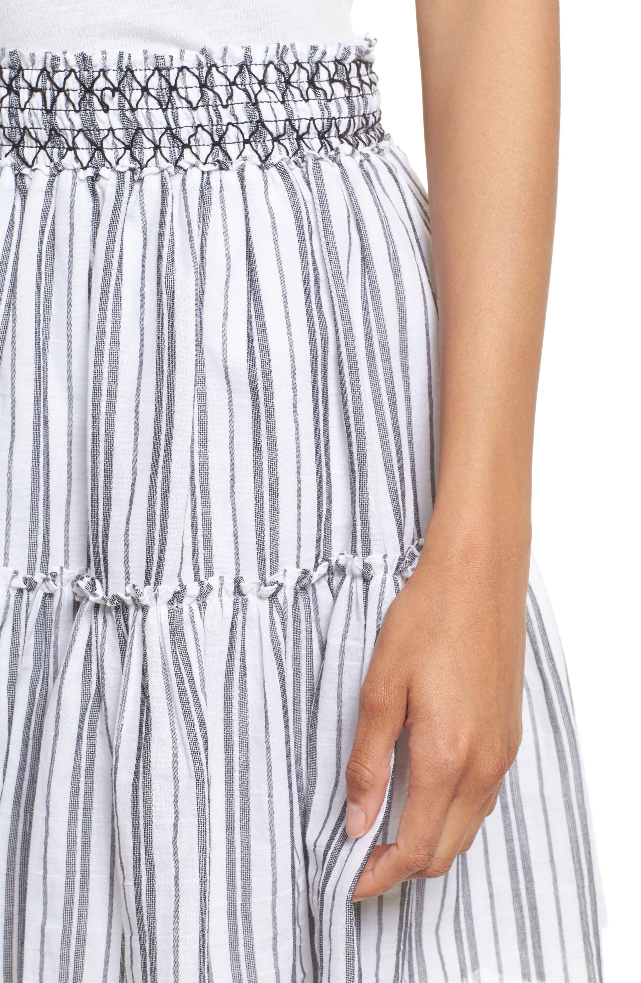 stripe miniskirt,                             Alternate thumbnail 4, color,                             Fresh White/ Black