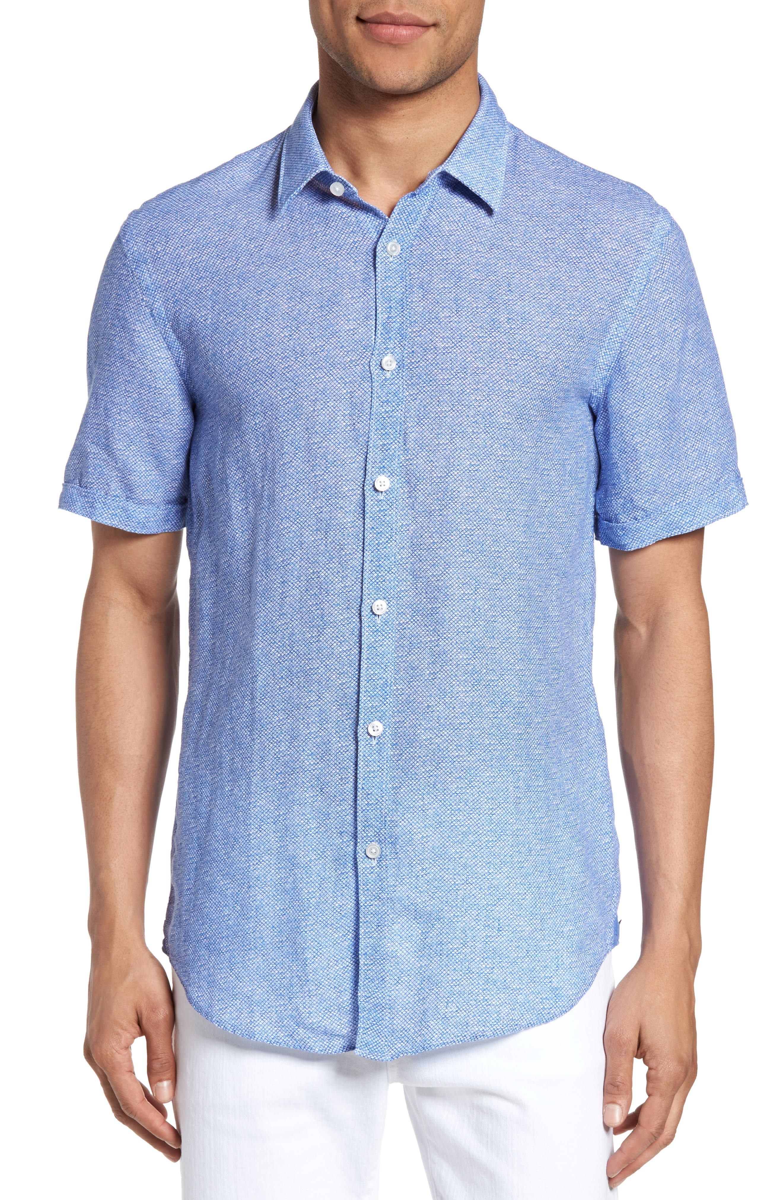 Alternate Image 1 Selected - BOSS Ronn Extra Slim Fit Print Linen Sport Shirt