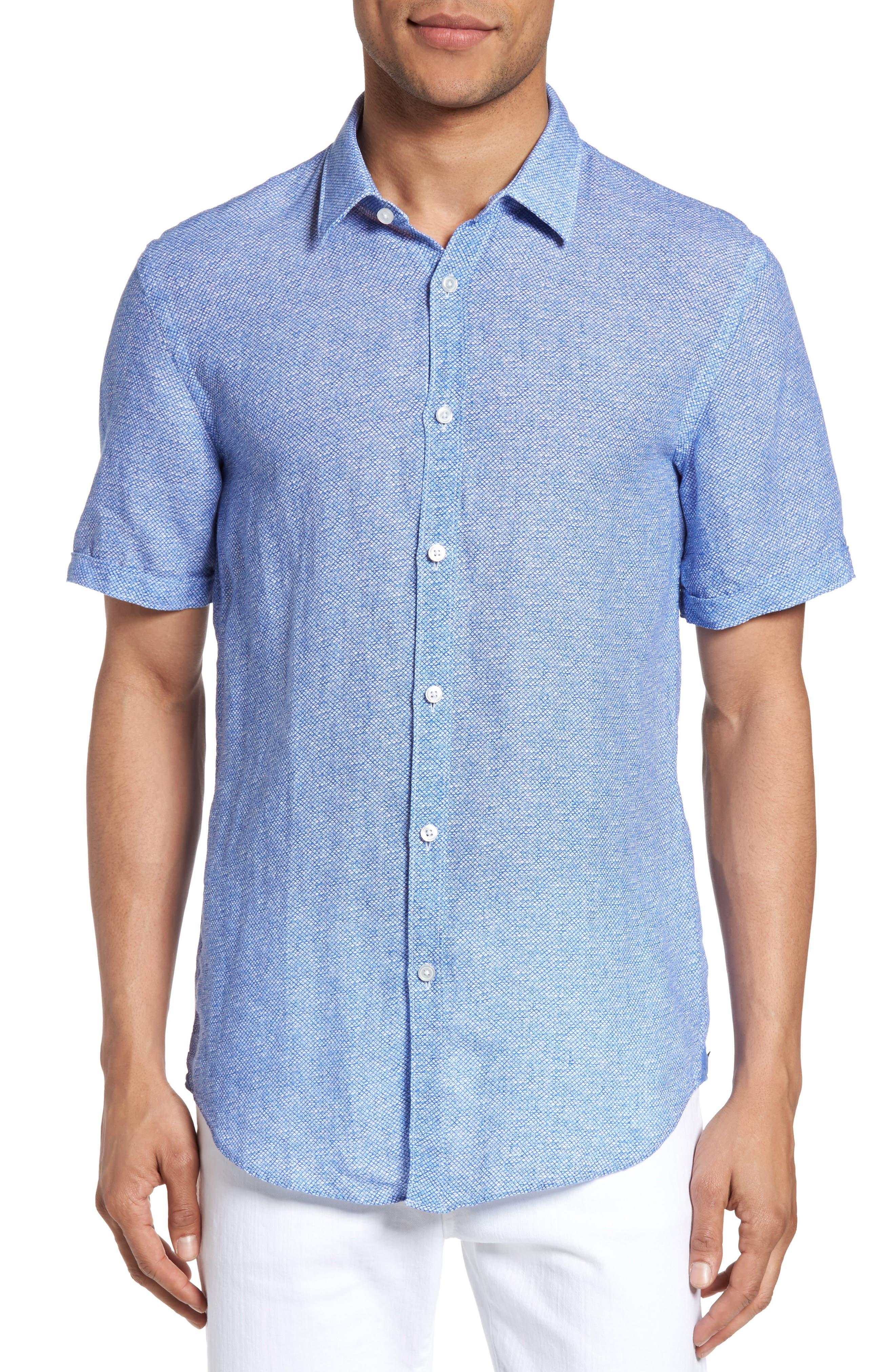 Main Image - BOSS Ronn Extra Slim Fit Print Linen Sport Shirt