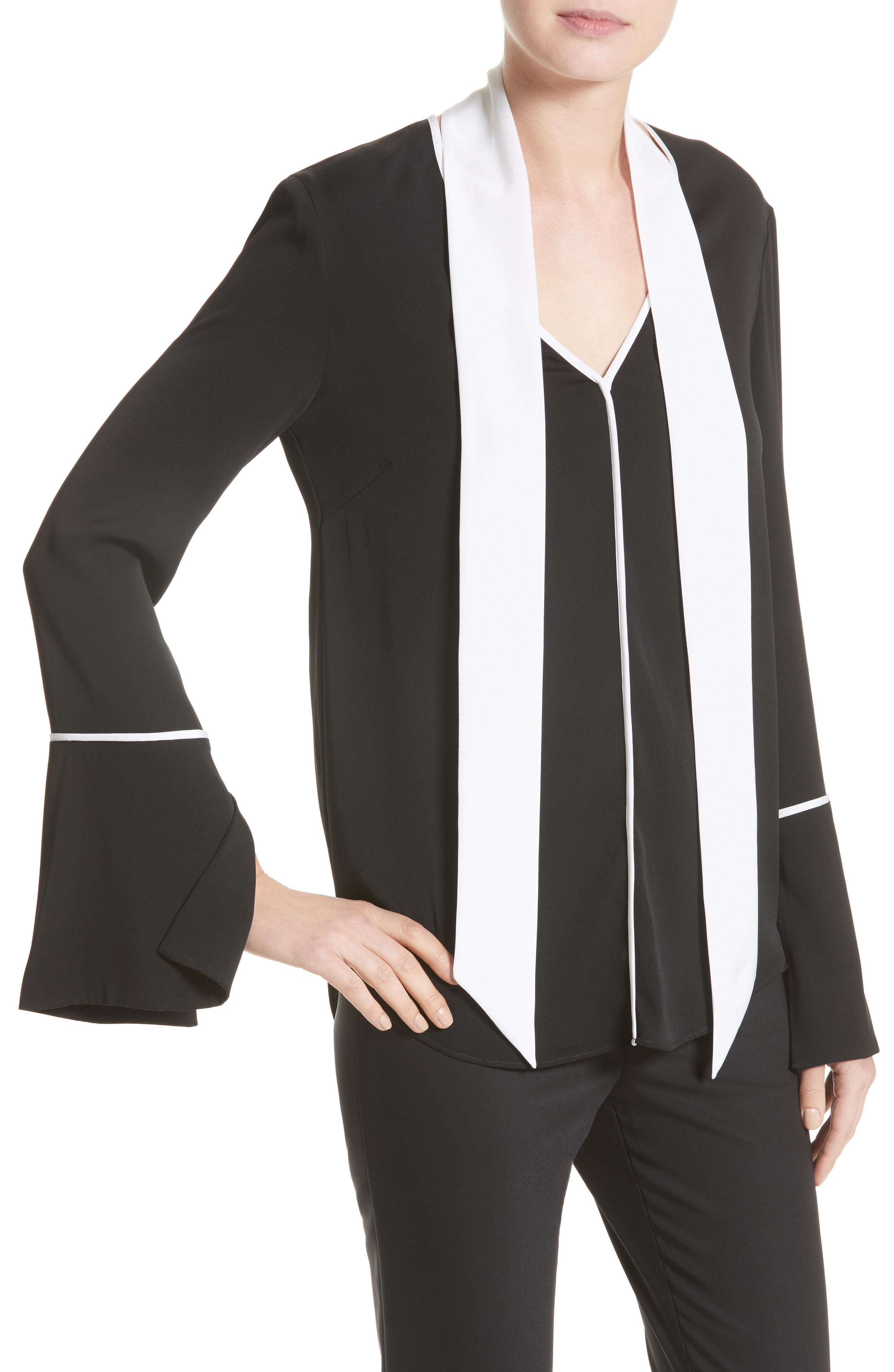 Stretch Silk Double Georgette Blouse with Removable Scarf,                             Alternate thumbnail 5, color,                             Caviar/ Bianco