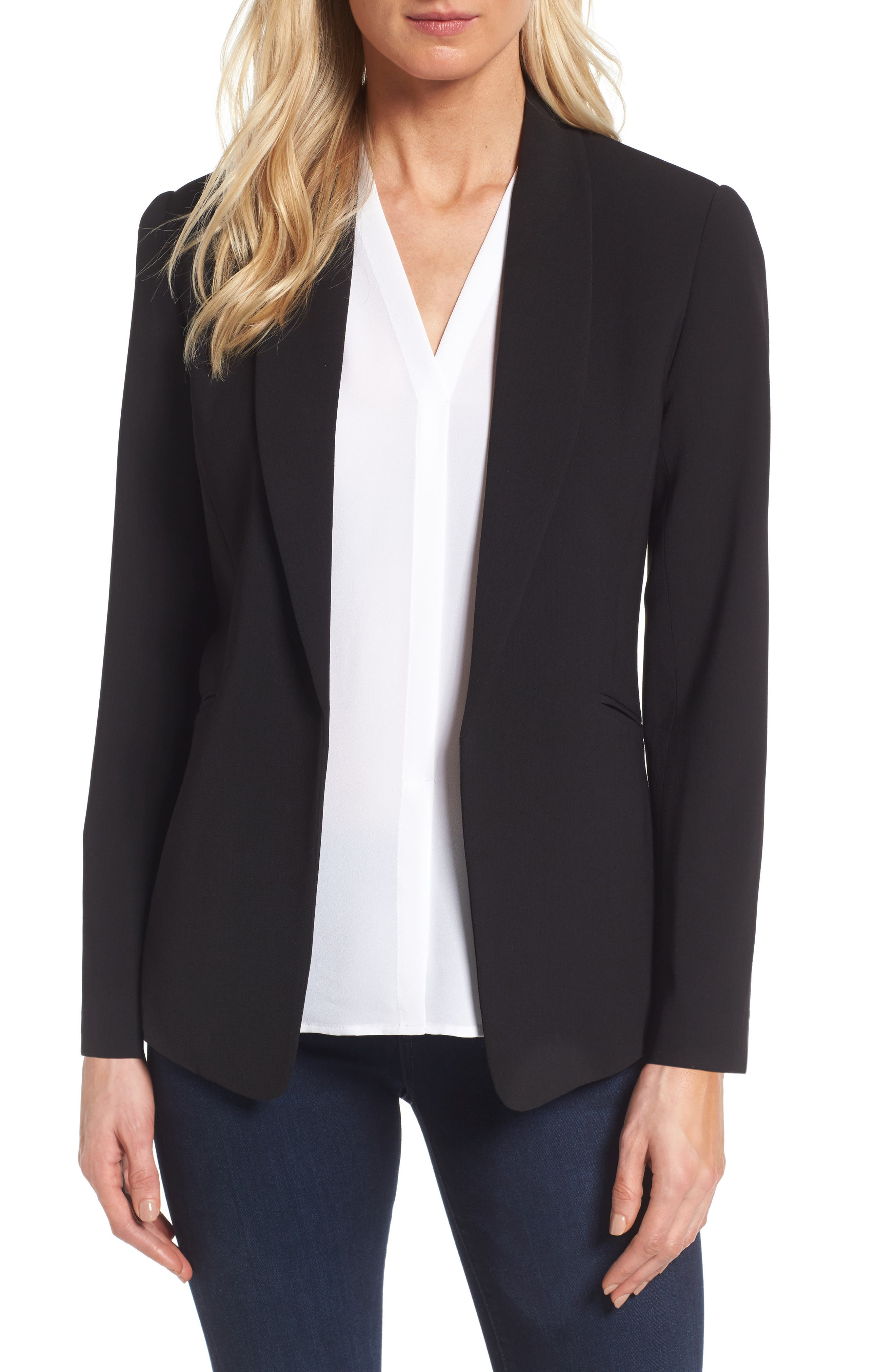 Texture Base Blazer,                             Main thumbnail 1, color,                             Rich Black