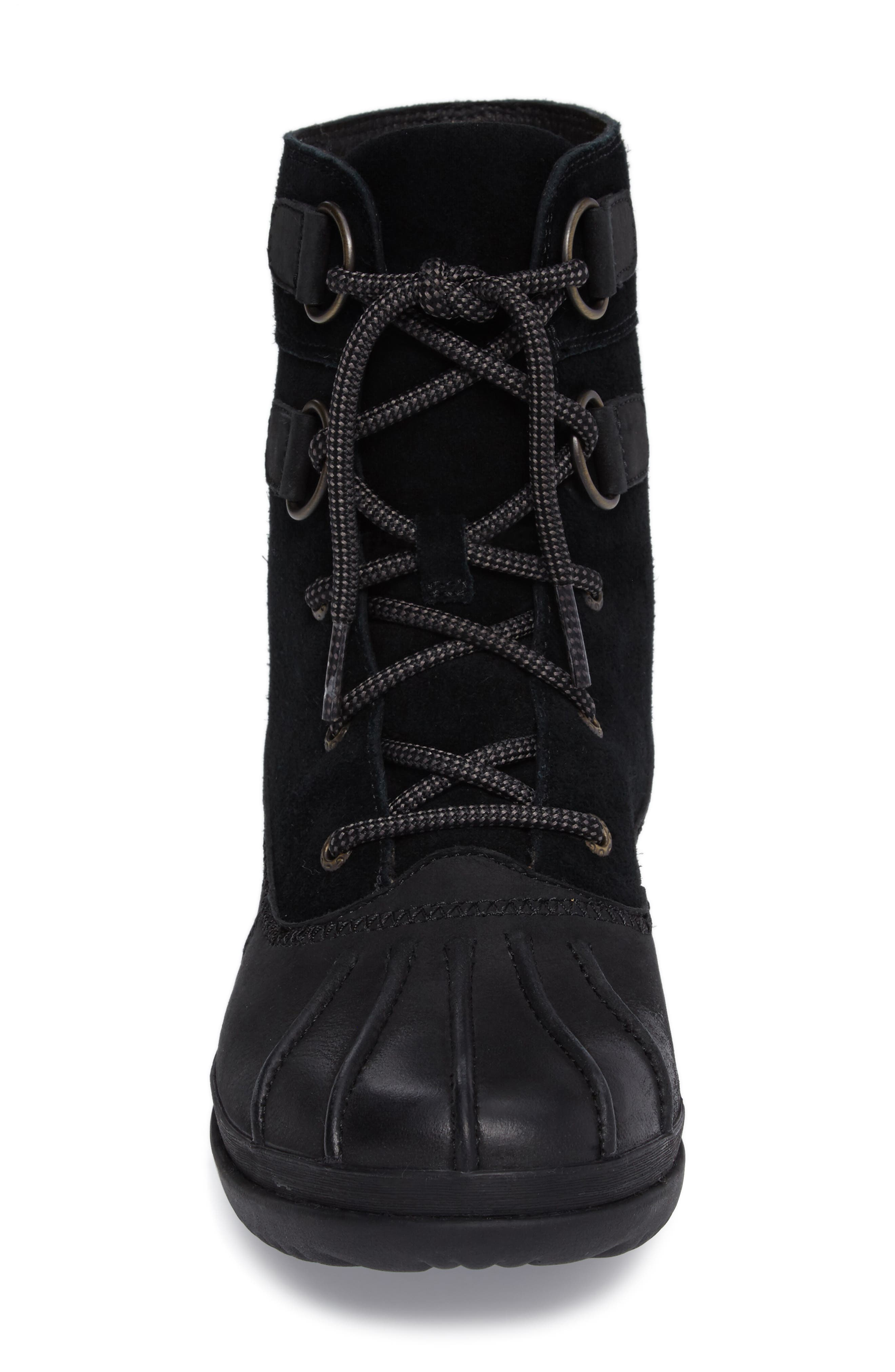 Azaria Waterproof Boot,                             Alternate thumbnail 4, color,                             Black Leather