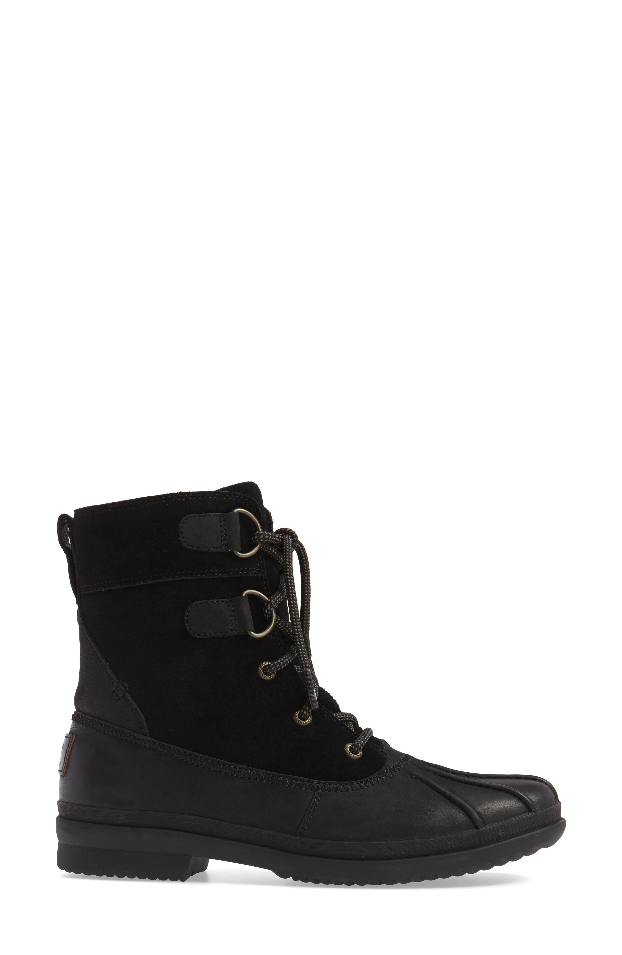 Azaria Waterproof Boot,                             Alternate thumbnail 3, color,                             Black Leather
