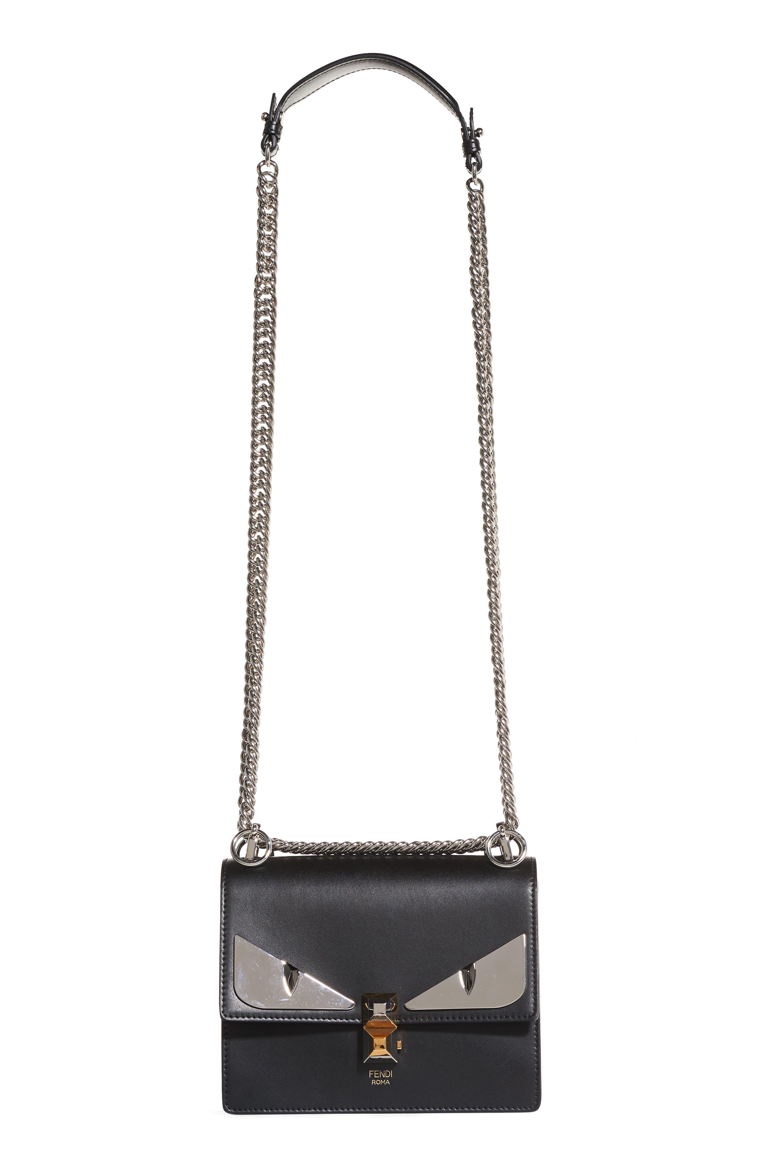 Kan I Monster Leather Shoulder Bag,                         Main,                         color, Black Palladium