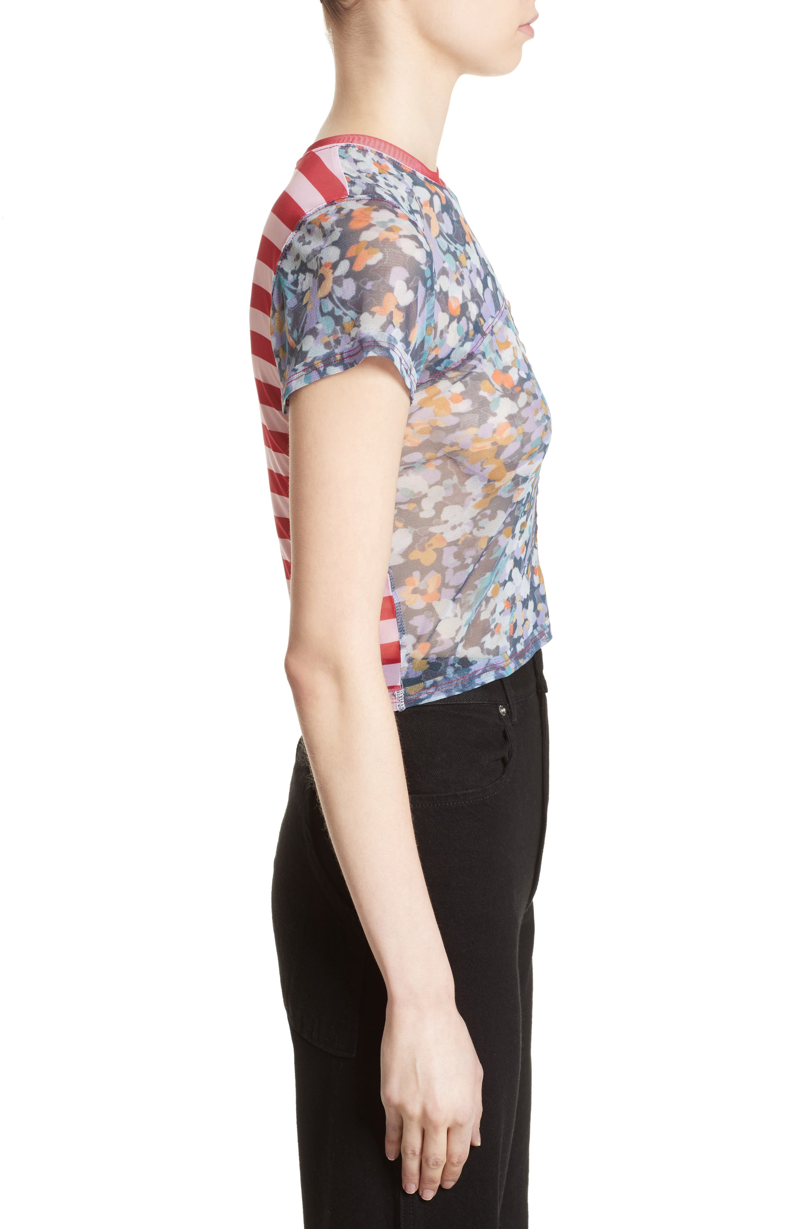 Lapped Baby Tee,                             Alternate thumbnail 5, color,                             Floral Red Mesh