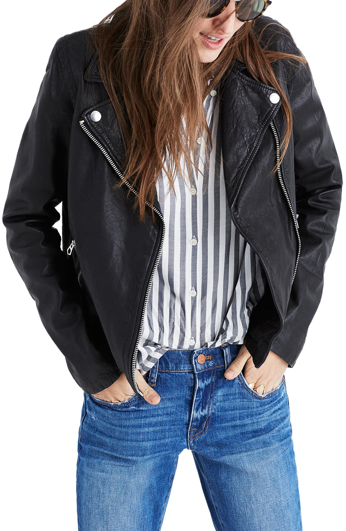 Washed Leather Moto Jacket,                         Main,                         color, True Black