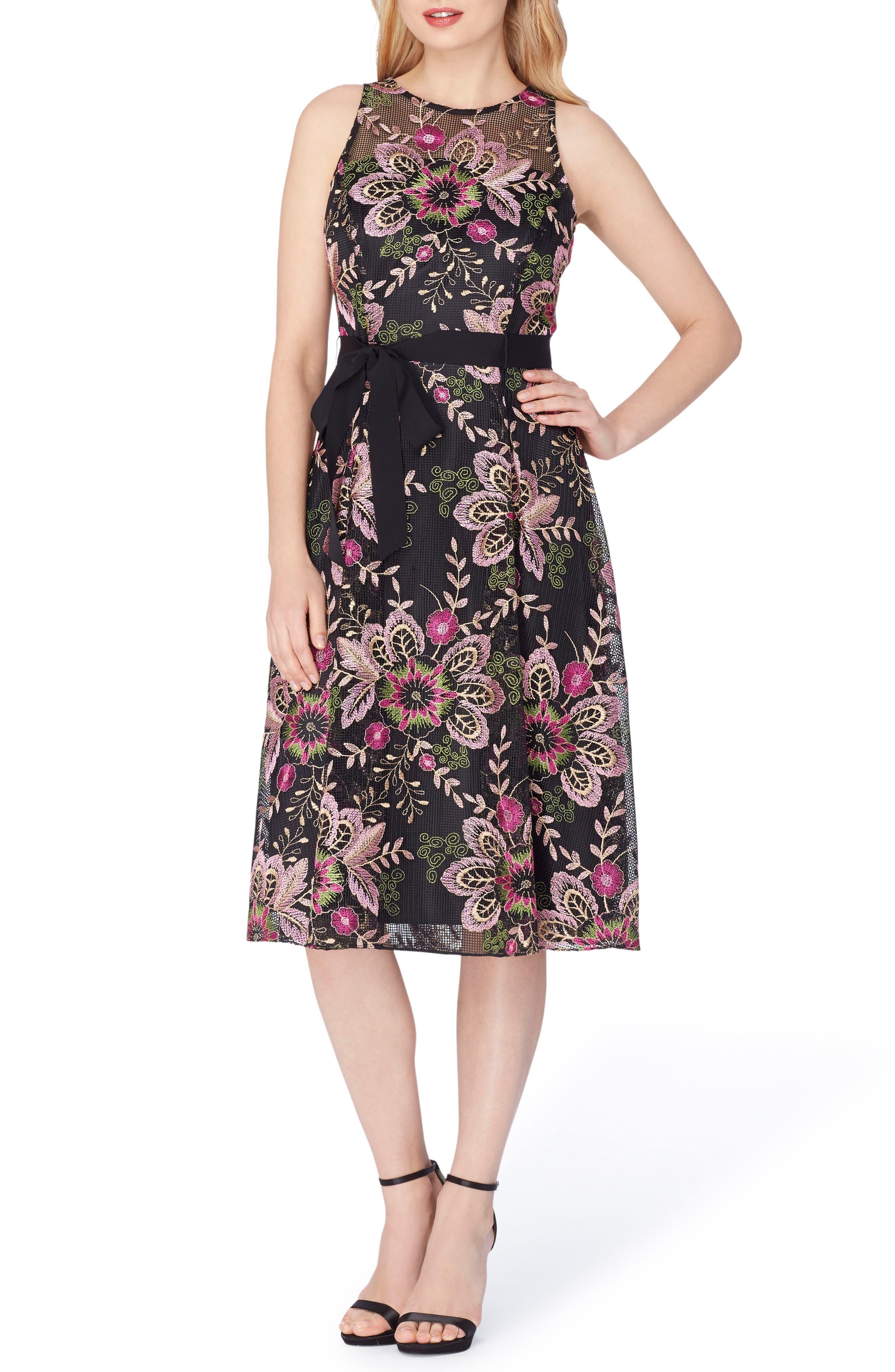 Fit & Flare Dress,                         Main,                         color, Black/ Fuchsia