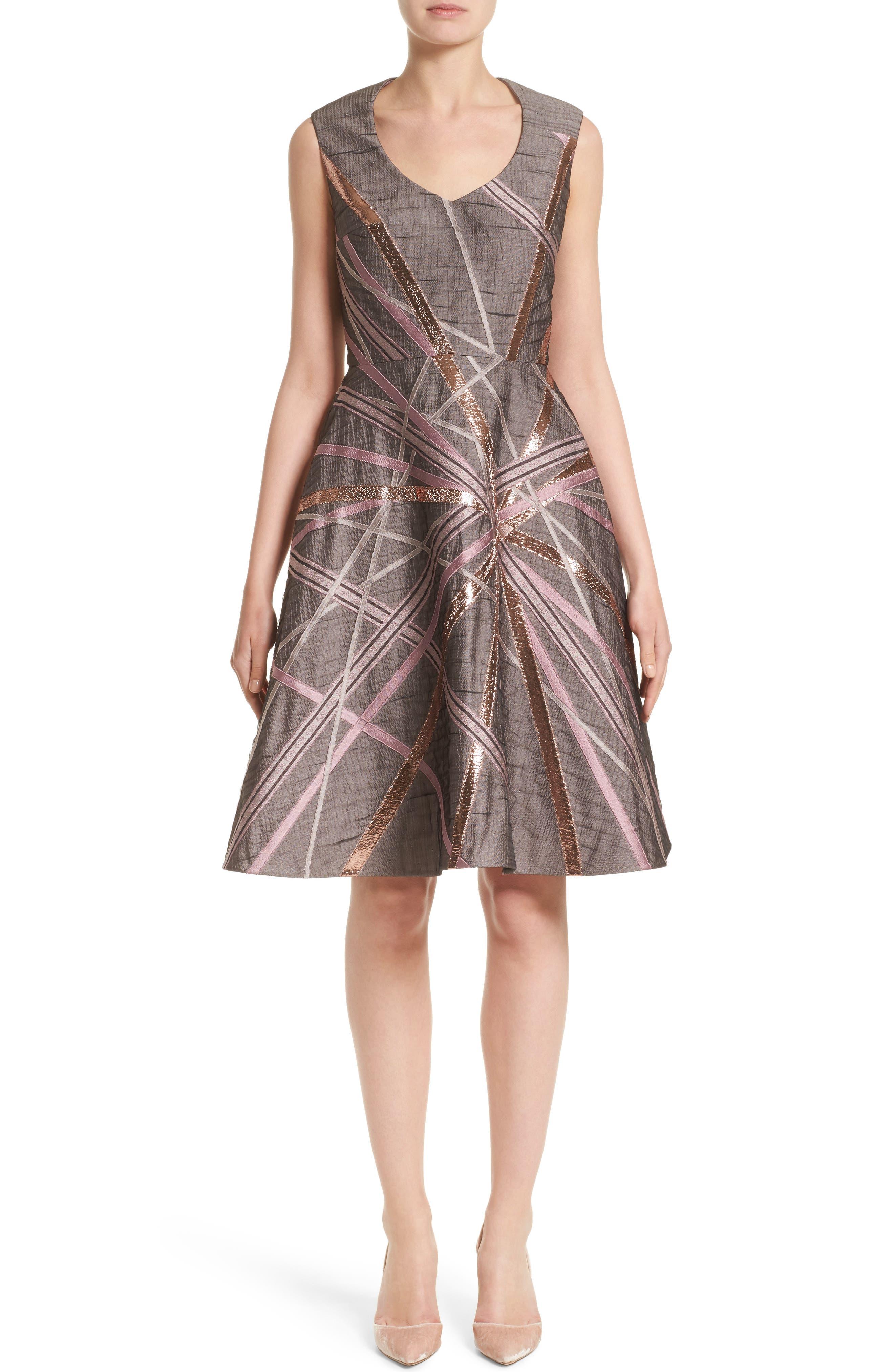 Rubin Singer Jacquard Fit & Flare Dress