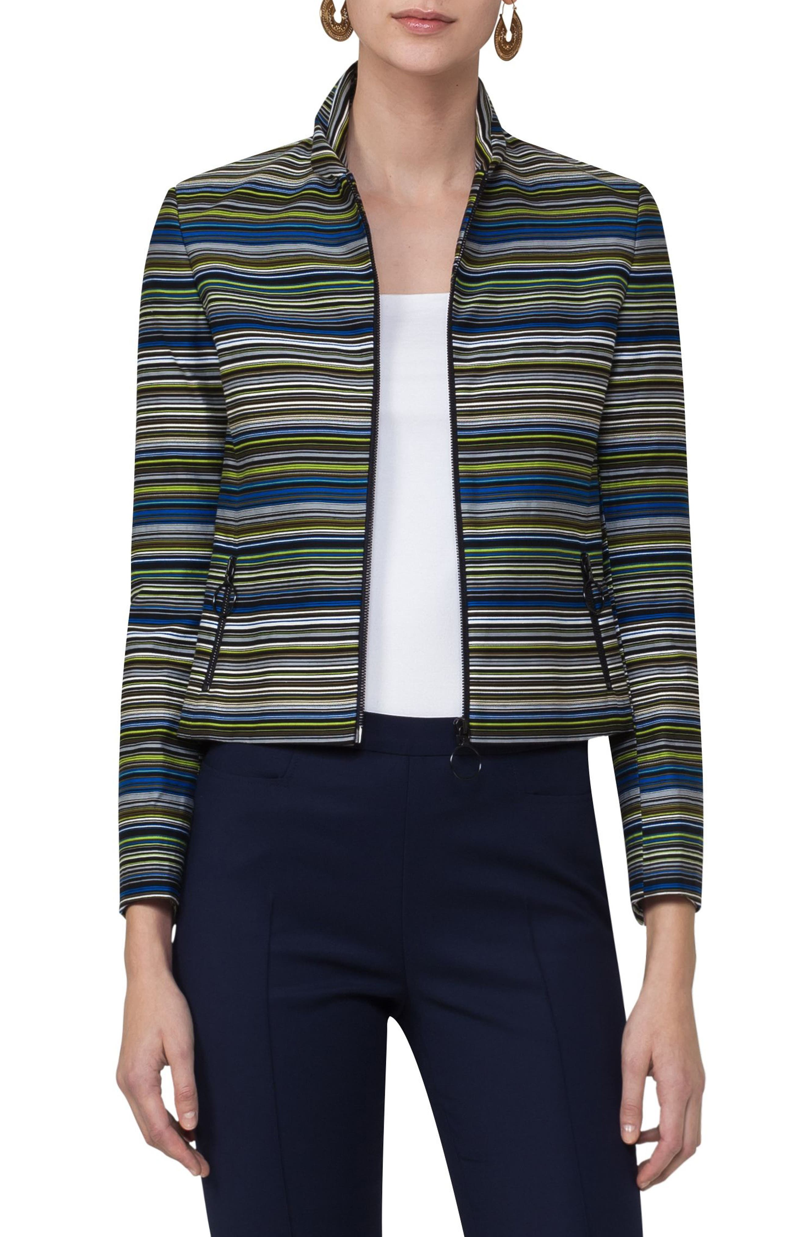 Paracas Stripe Crop Jacket,                         Main,                         color, Forest Multi