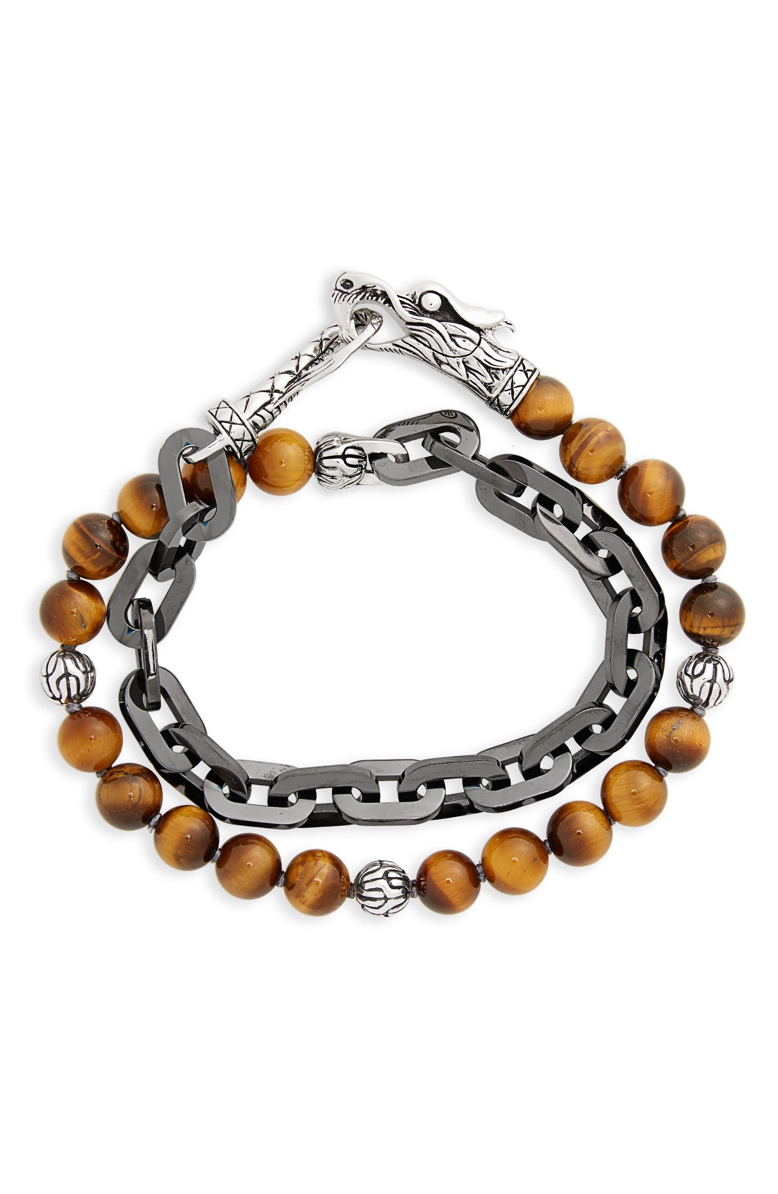 Legends Naga Double Wrap Link Bracelet,                             Main thumbnail 1, color,                             Silver/ Tiger Eye