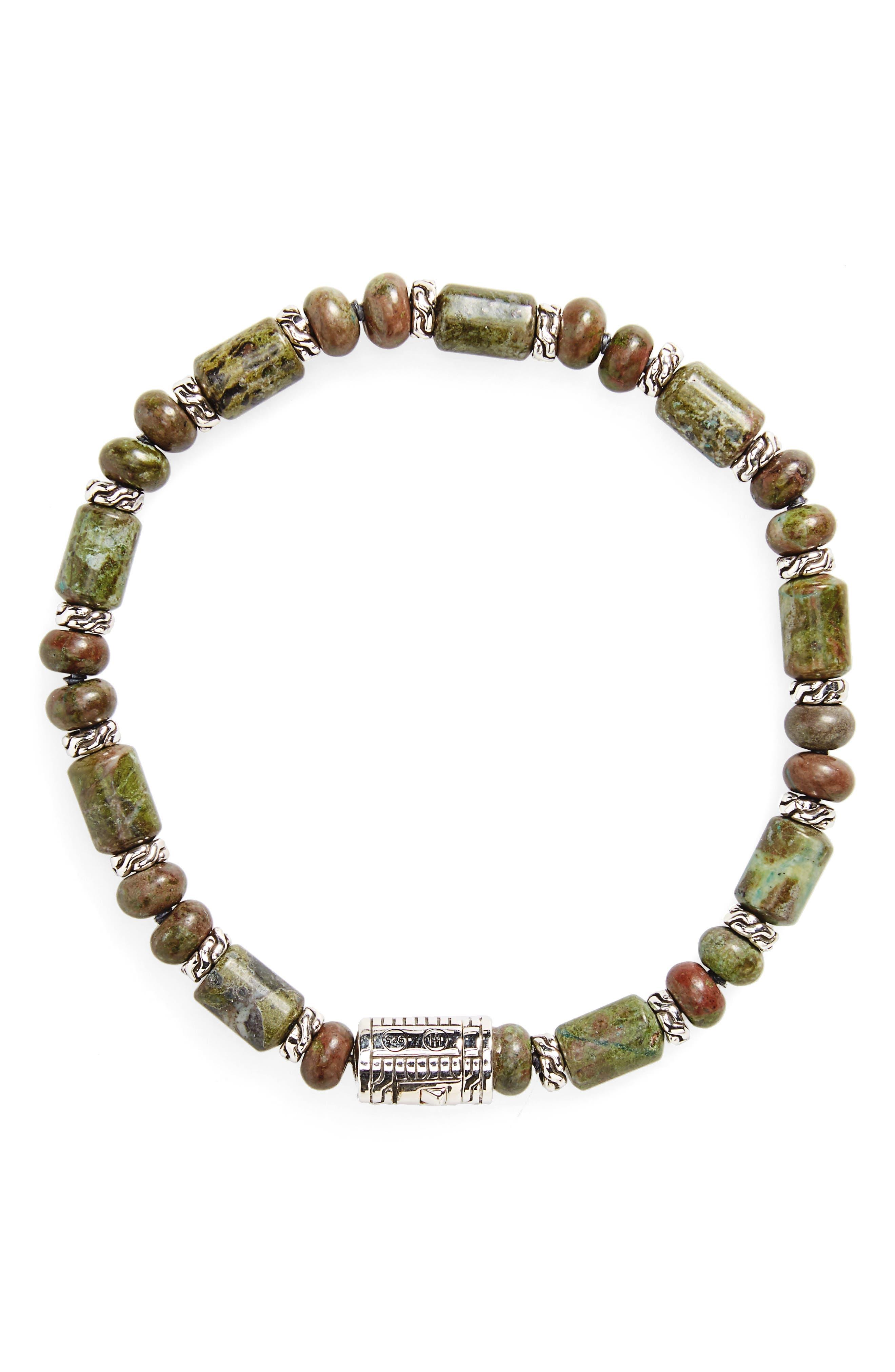 Classic Chain Beaded Bracelet,                             Main thumbnail 1, color,                             Silver/ Multi