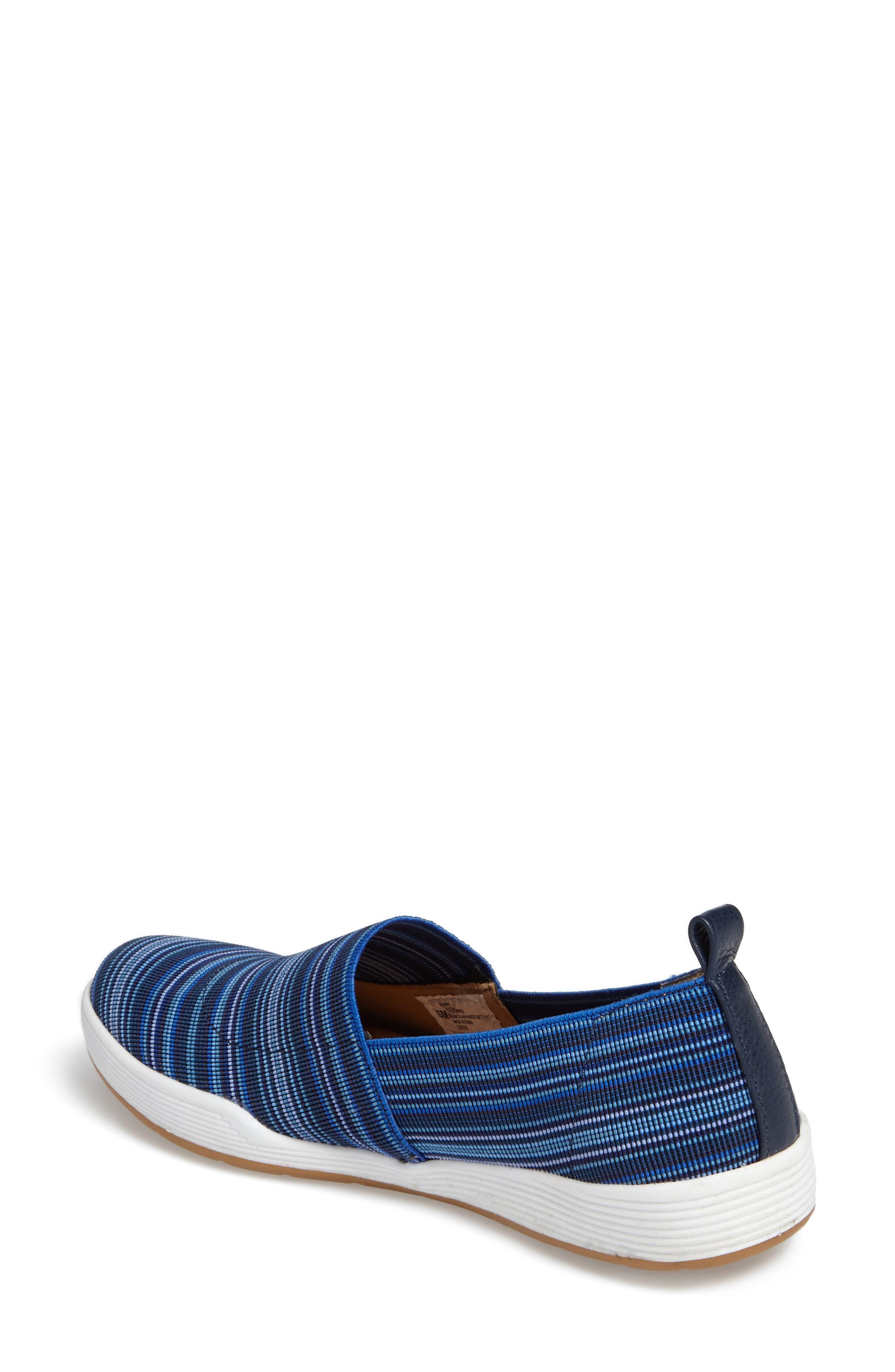 Lida Slip-On Flat,                             Alternate thumbnail 2, color,                             Blue Fabric