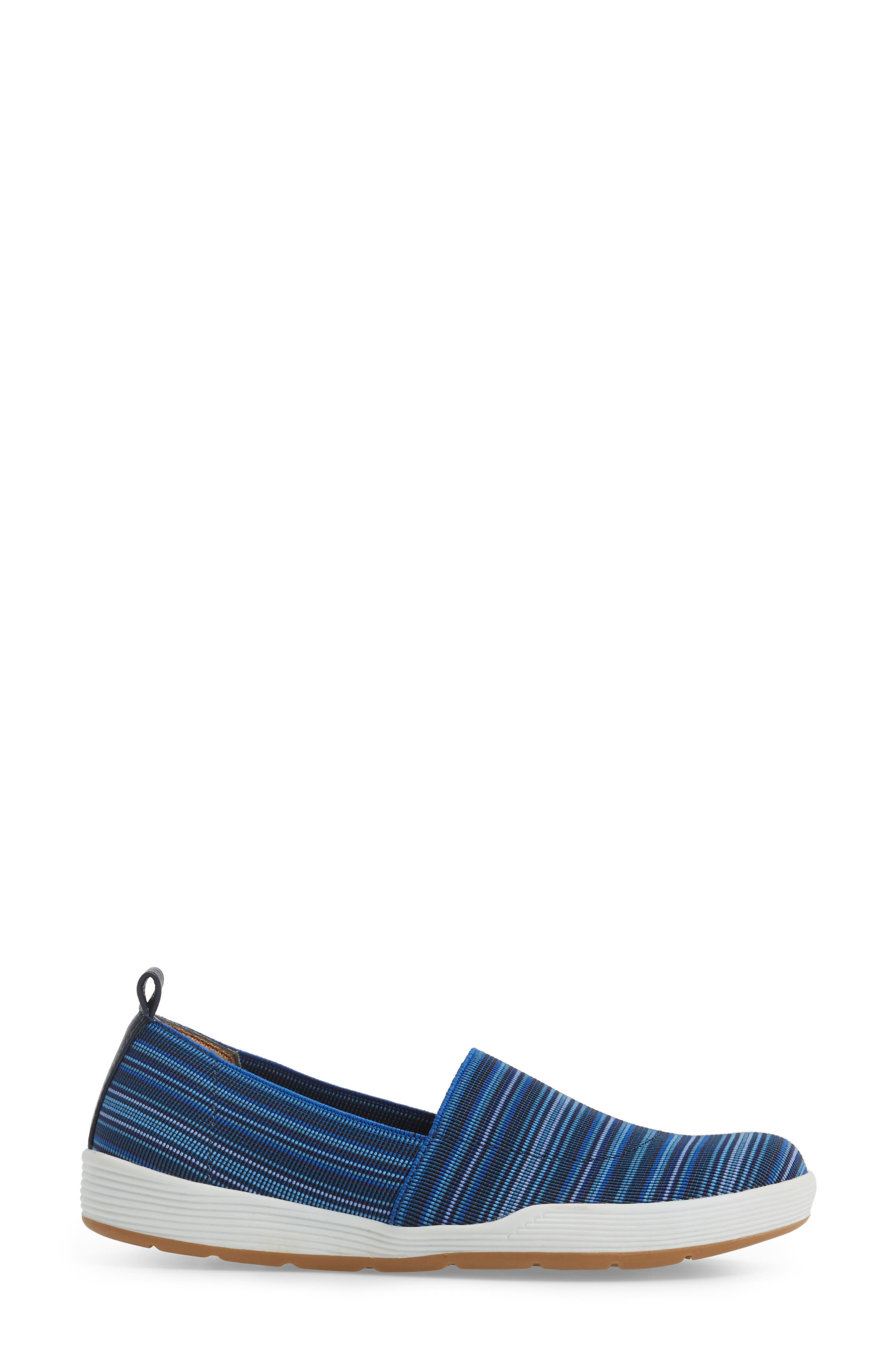 Lida Slip-On Flat,                             Alternate thumbnail 3, color,                             Blue Fabric