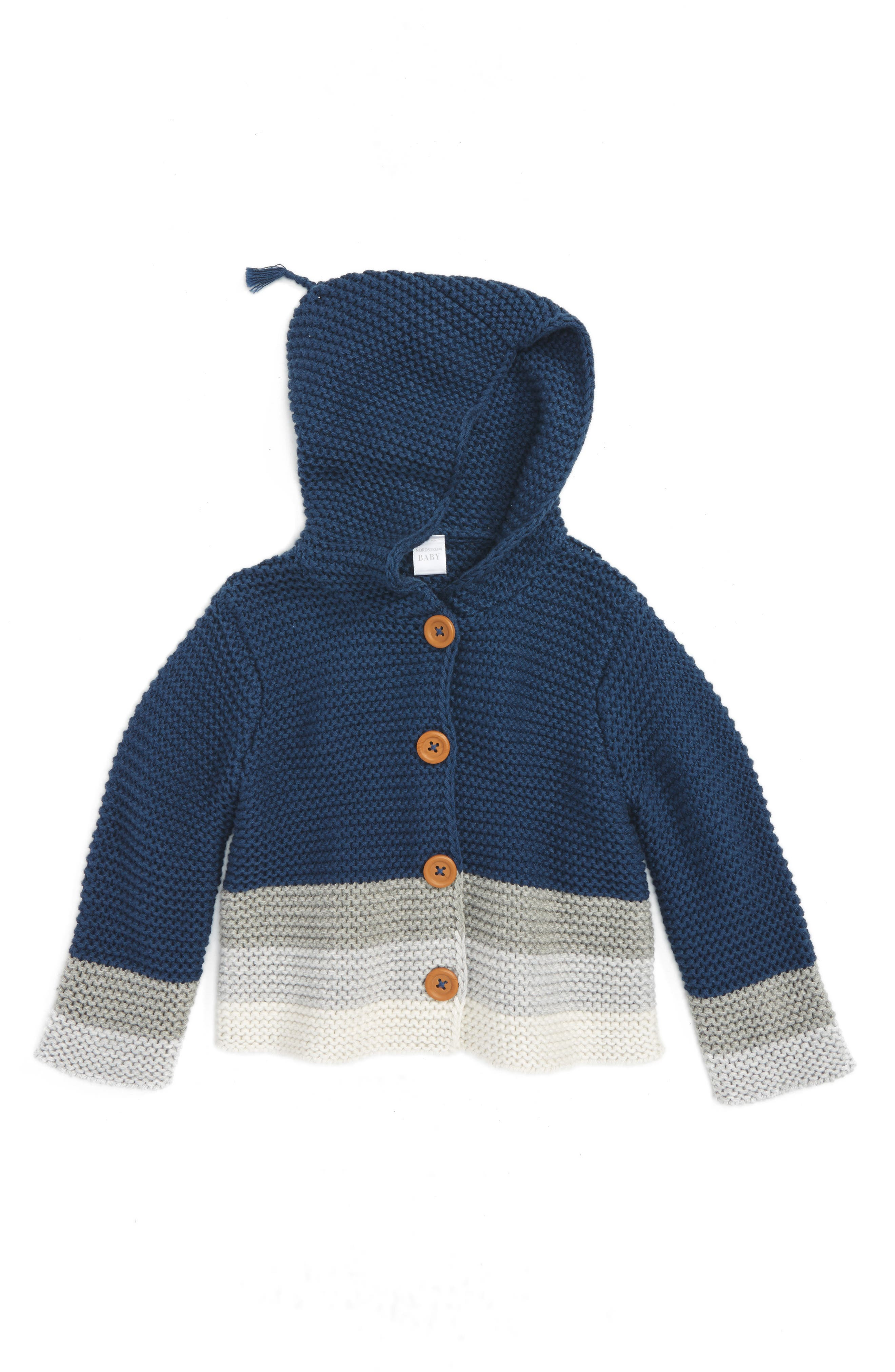 Main Image - Nordstrom Baby Organic Cotton Knit Hoodie (Baby Boys)