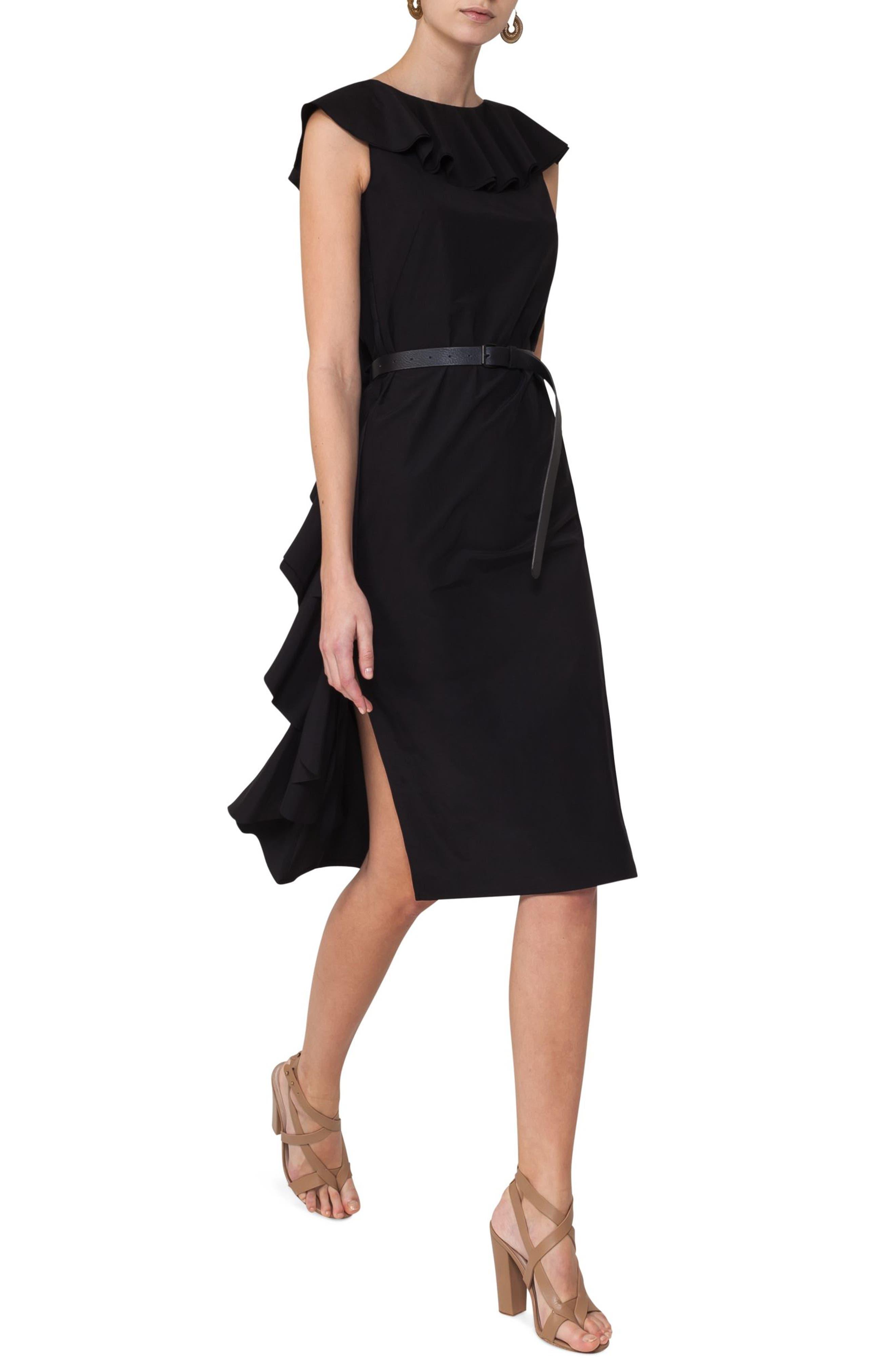 Ruffle Shift Dress,                             Alternate thumbnail 3, color,                             Black