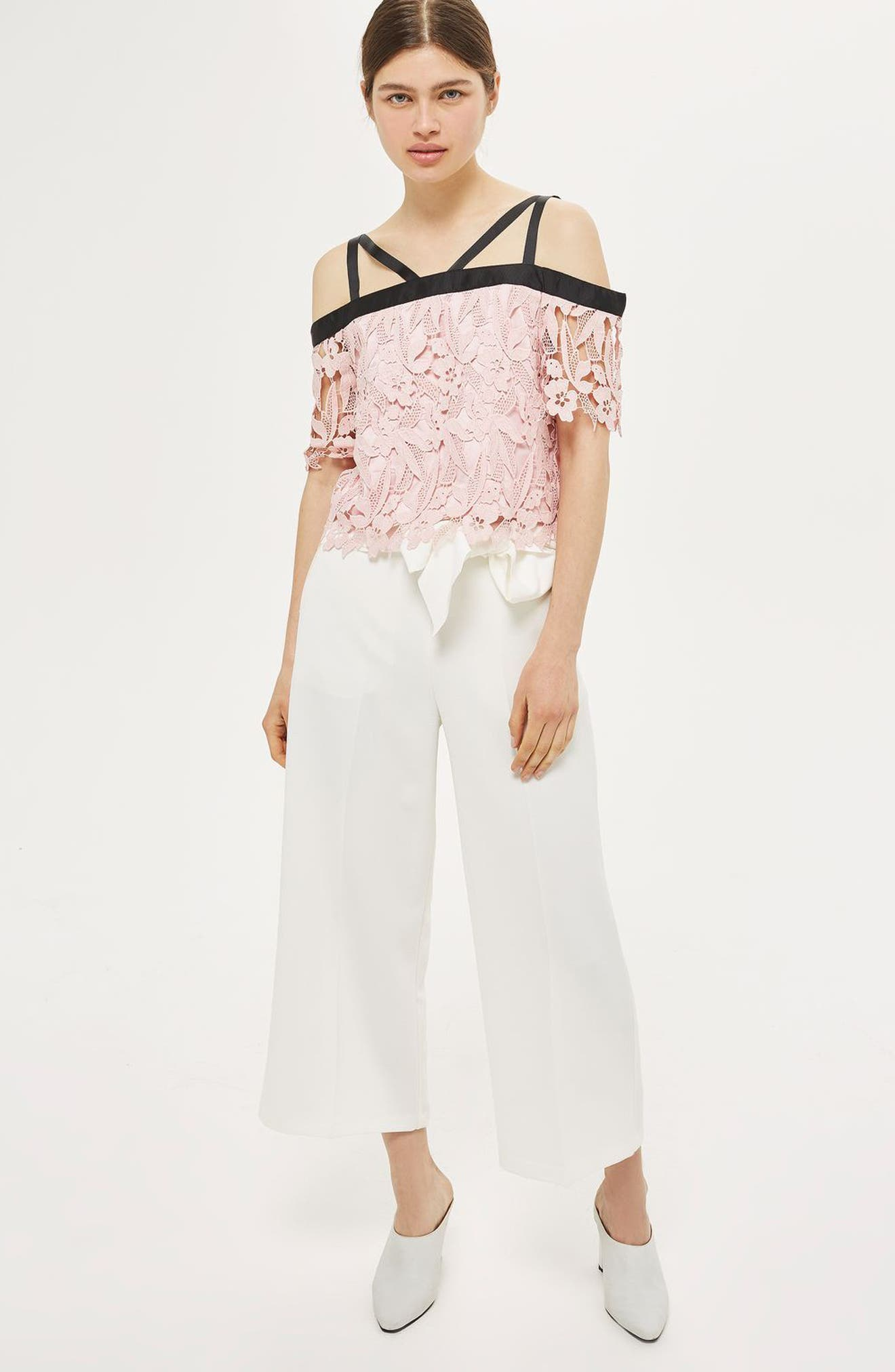 Alternate Image 2  - Topshop Strappy Lace Top