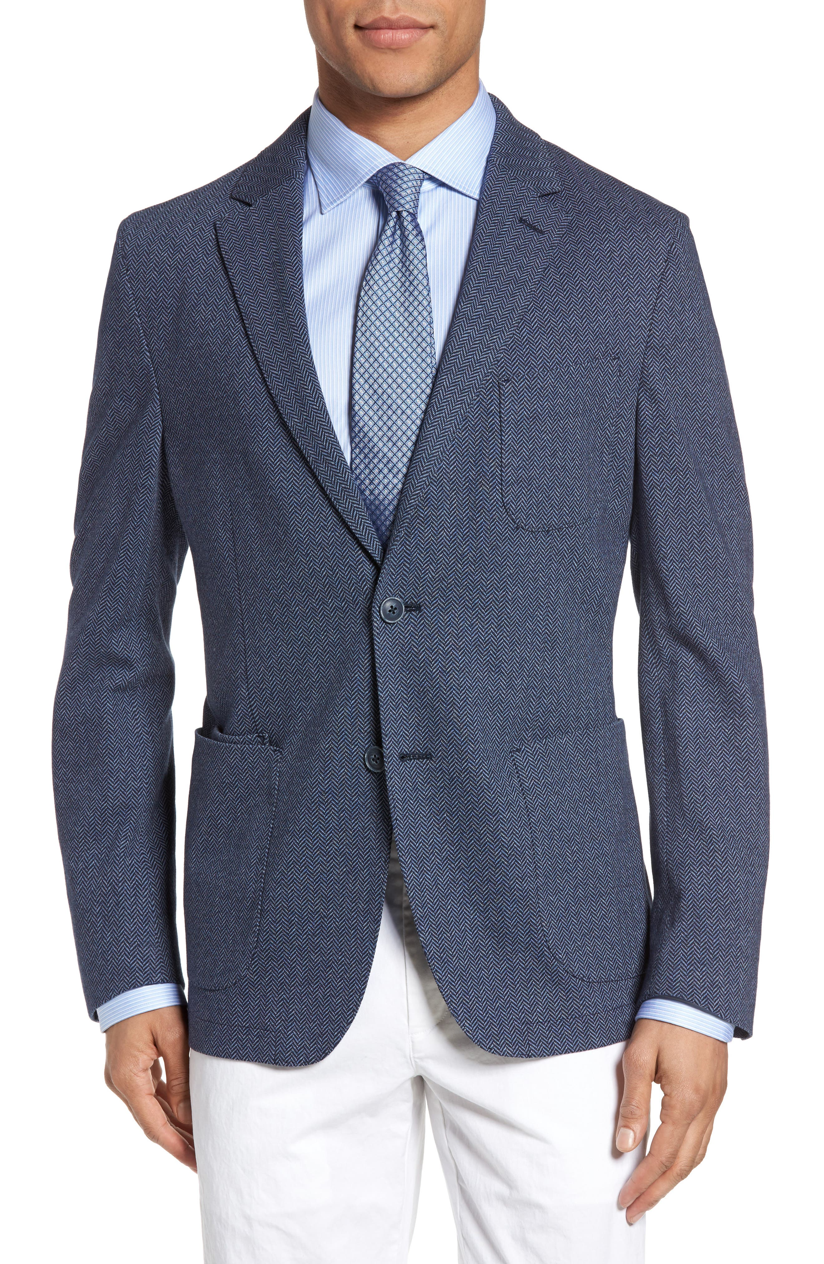 Draper Herringbone Sport Coat,                         Main,                         color, Navy