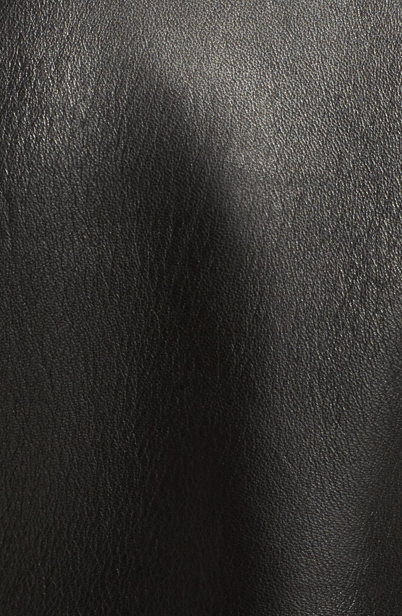 Perfecto Crop Leather Jacket,                             Alternate thumbnail 5, color,                             Black