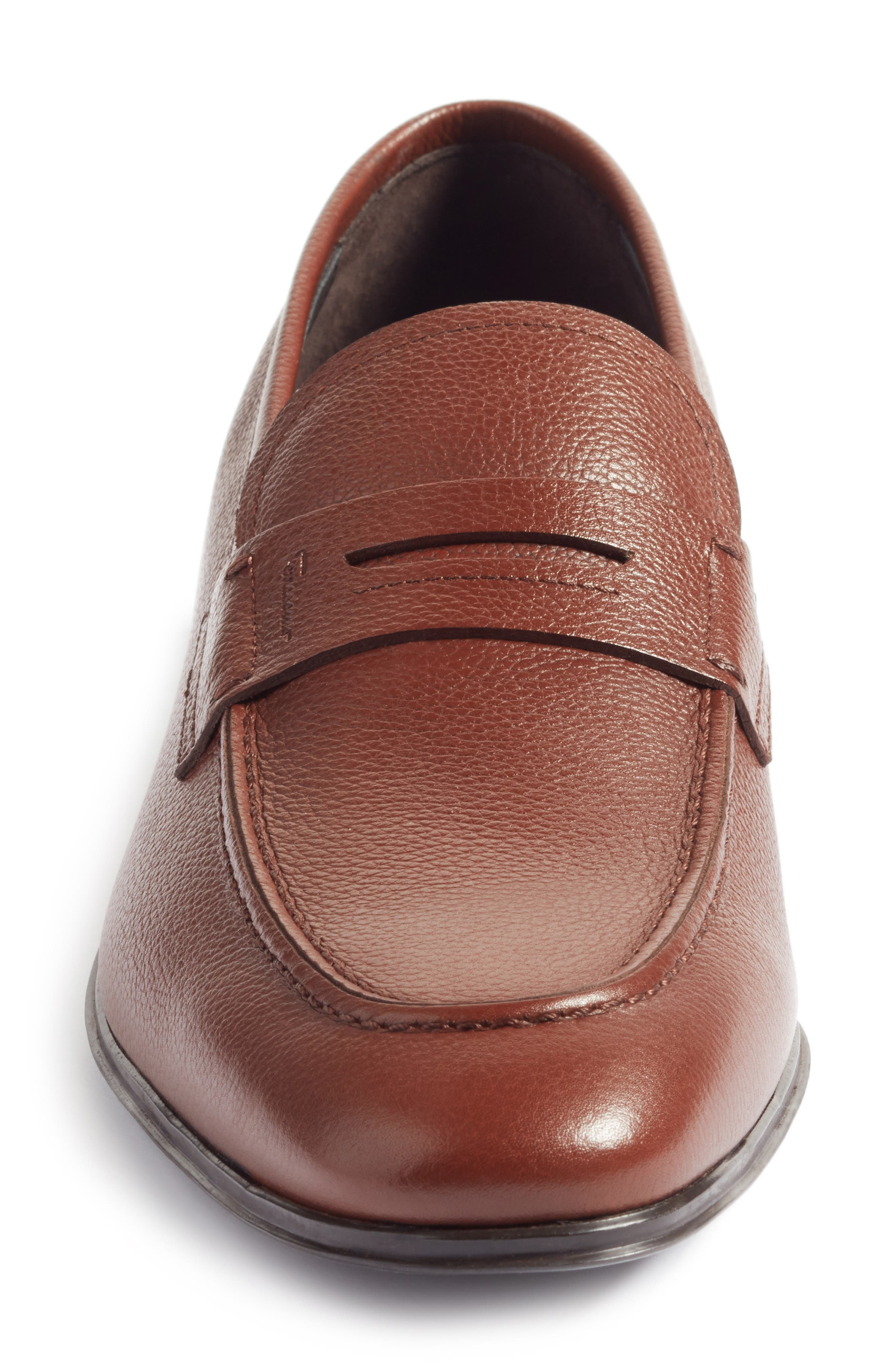 Fiorino 2 Penny Loafer,                             Alternate thumbnail 4, color,                             Dark Cuoio Leather