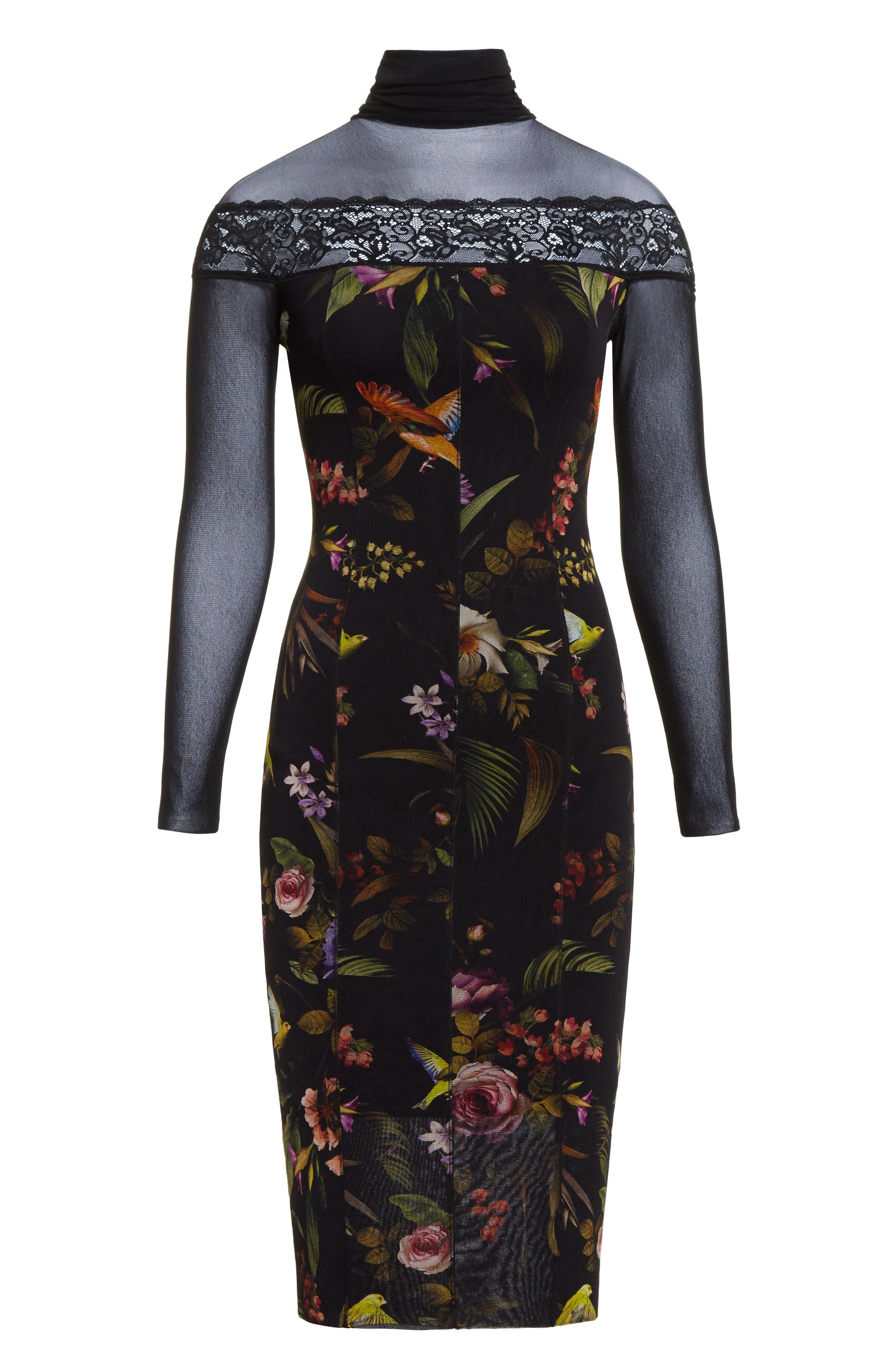 Tulle Turtleneck Sheath Dress,                             Alternate thumbnail 4, color,                             Nero