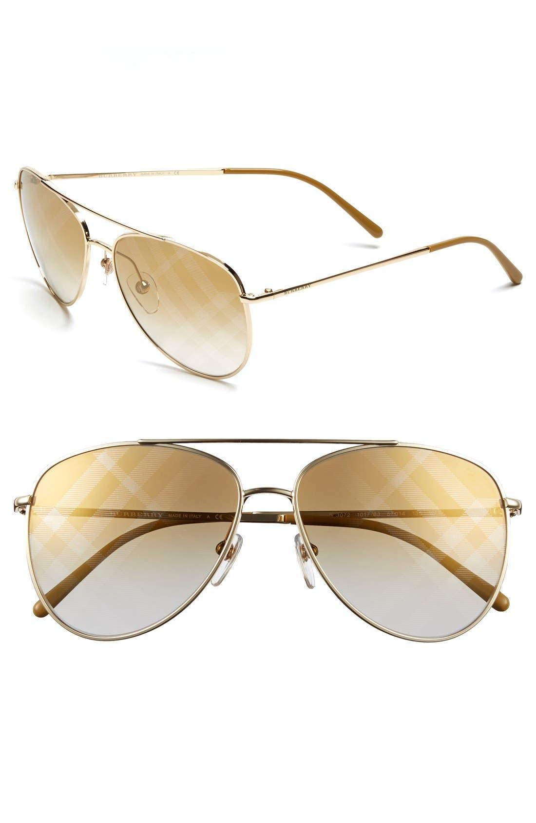 Main Image - Burberry 57mm Aviator Sunglasses