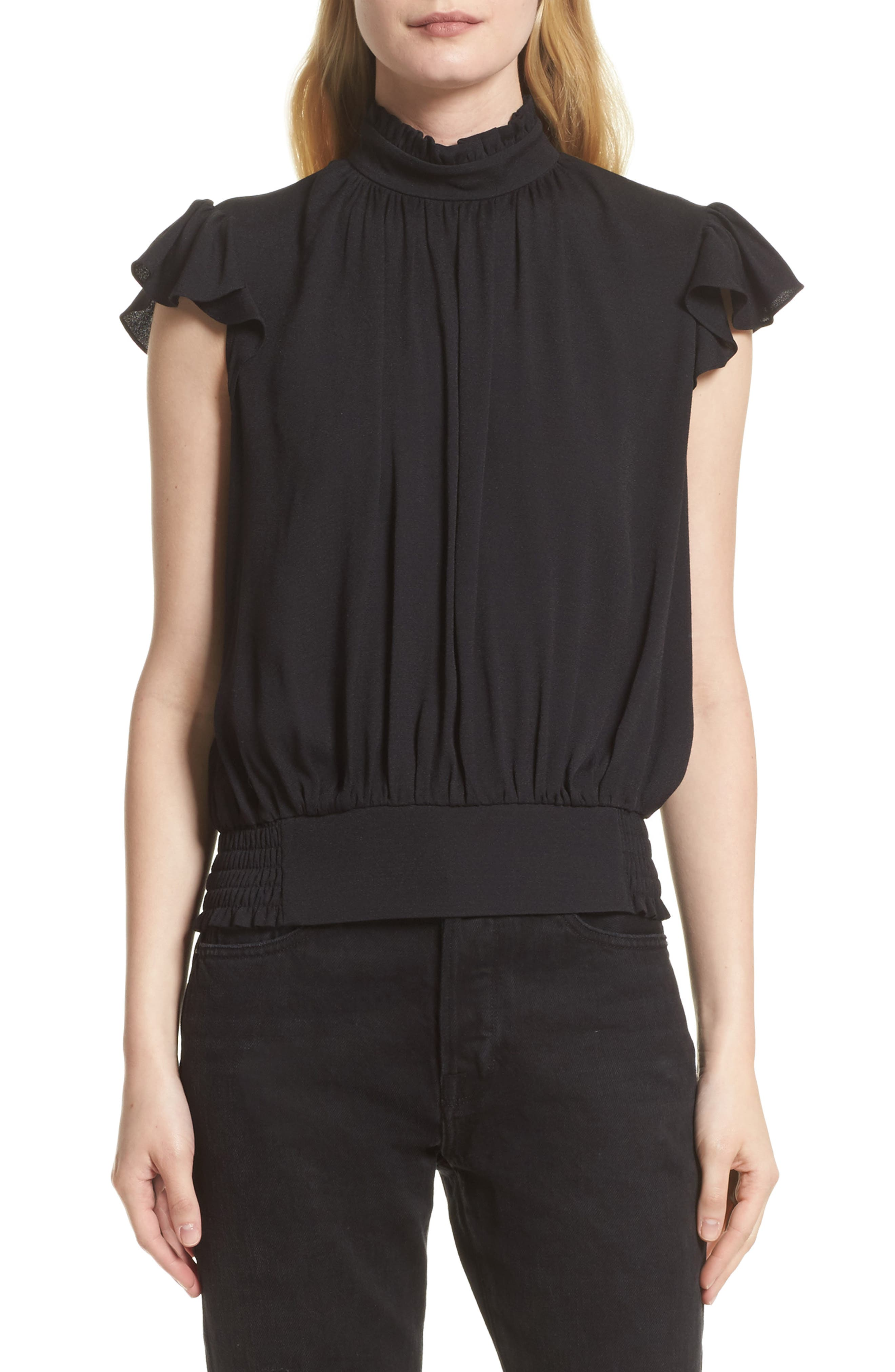 Alternate Image 1 Selected - FRAME Smocked Ruffle Blouse (Nordstrom Exclusive)