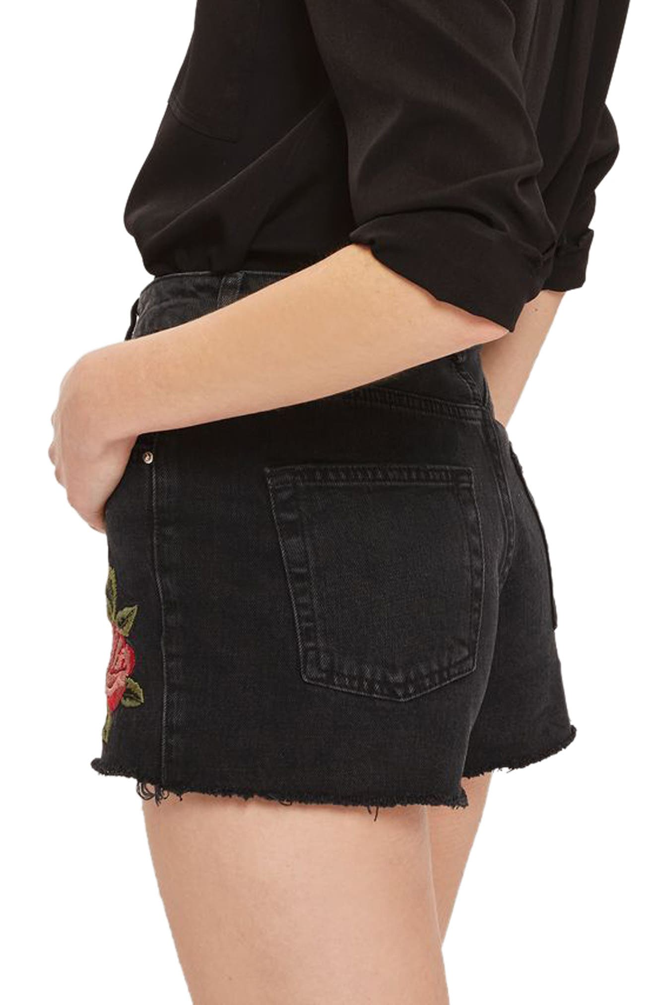 Alternate Image 3  - Topshop Rose Embroidered Mom Shorts