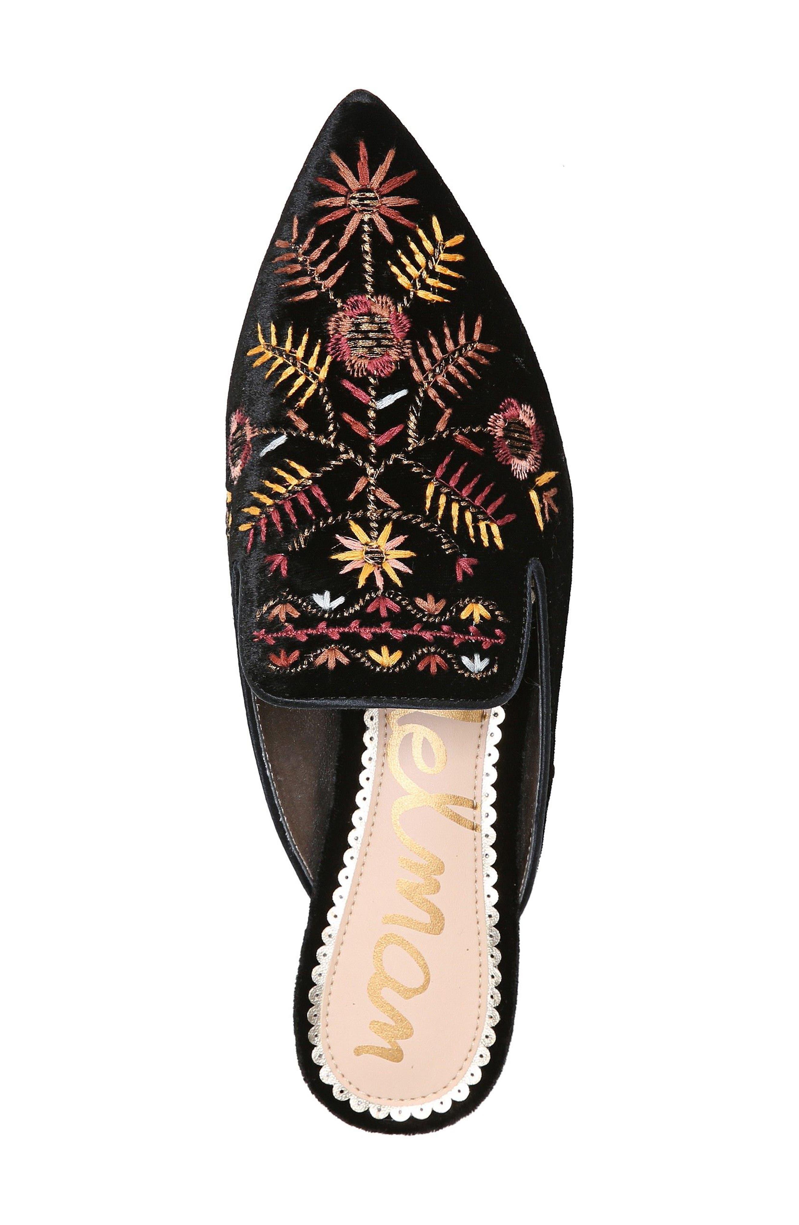 Ansley Pointy Toe Loafer Mule,                             Alternate thumbnail 5, color,                             Black Velvet