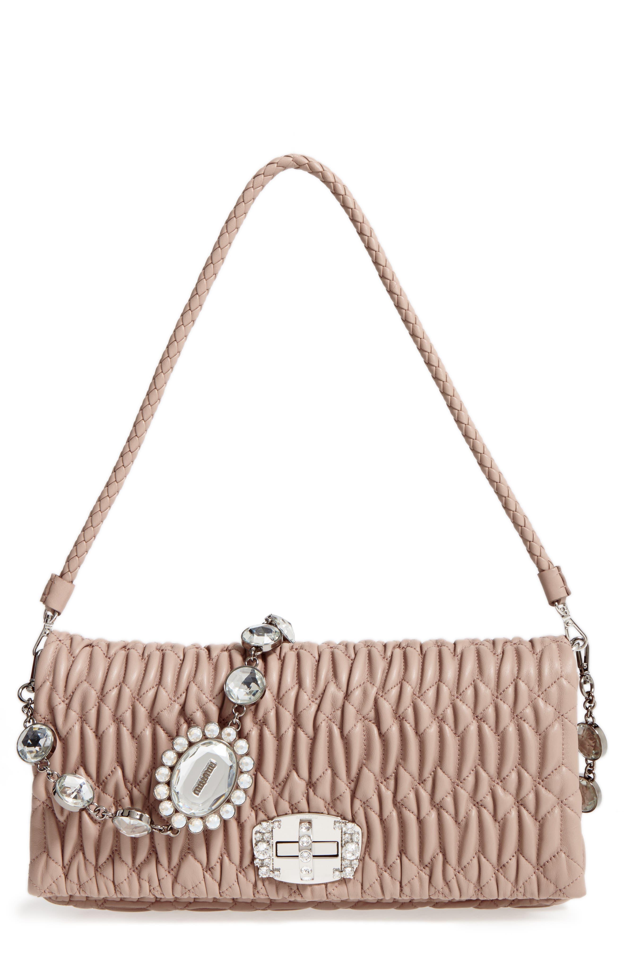 Alternate Image 1 Selected - Miu Miu Medium Crystal Matelassé Leather Crossbody Bag