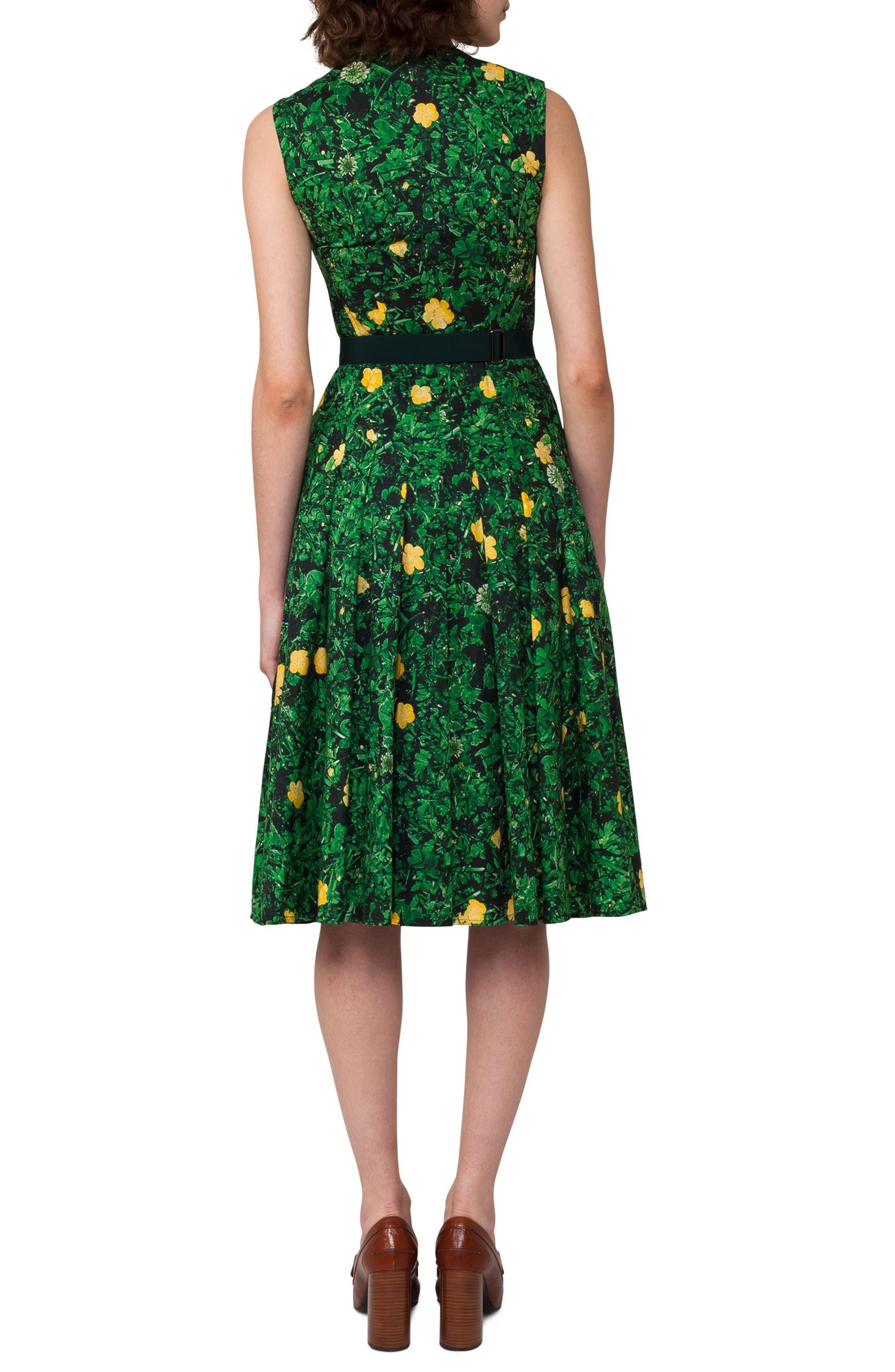 Alternate Image 2  - Akris Floral Print Pleated Cotton Dress