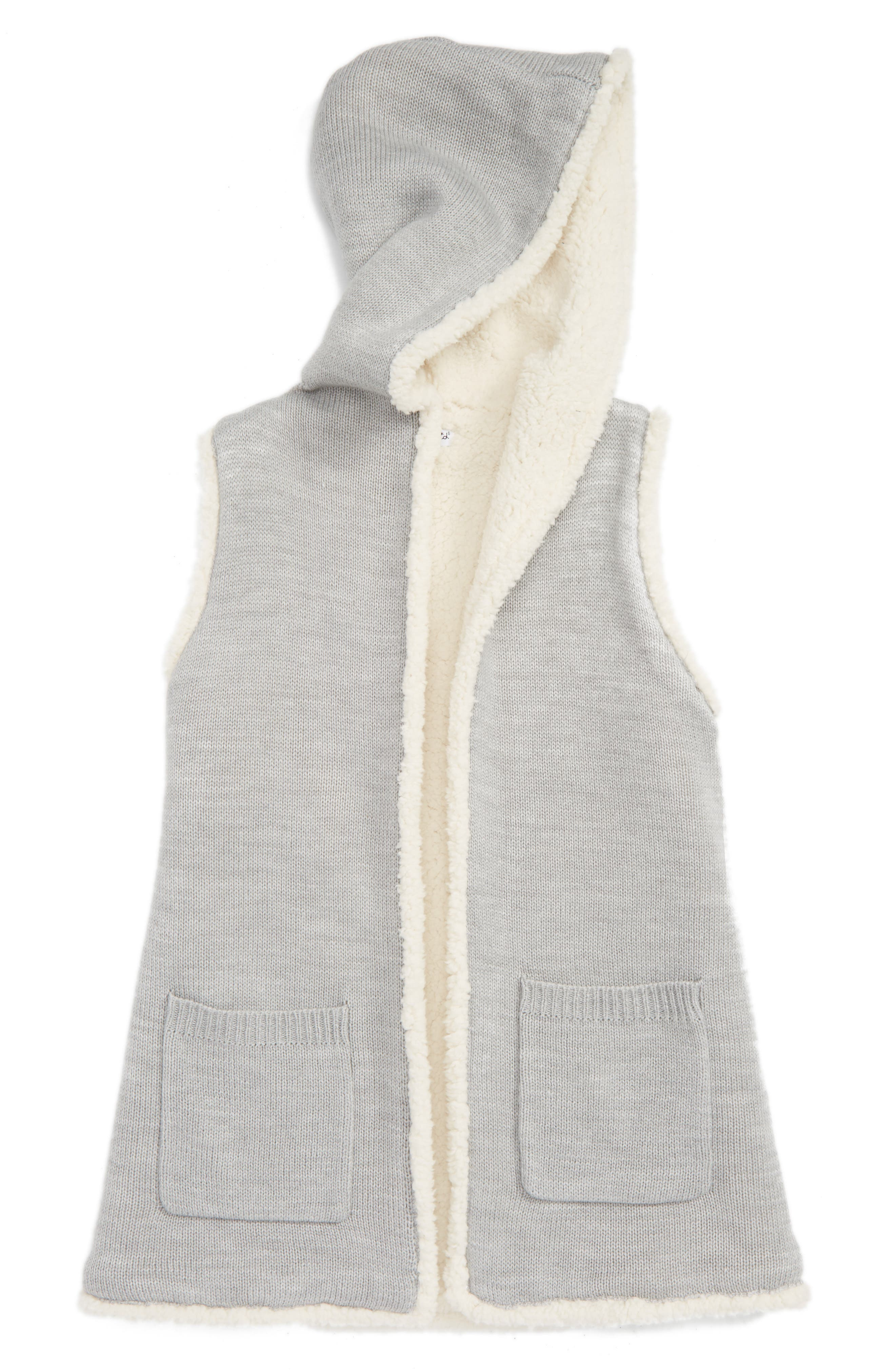 Splendid Faux Fur Lined Knit Vest (Big Girls)