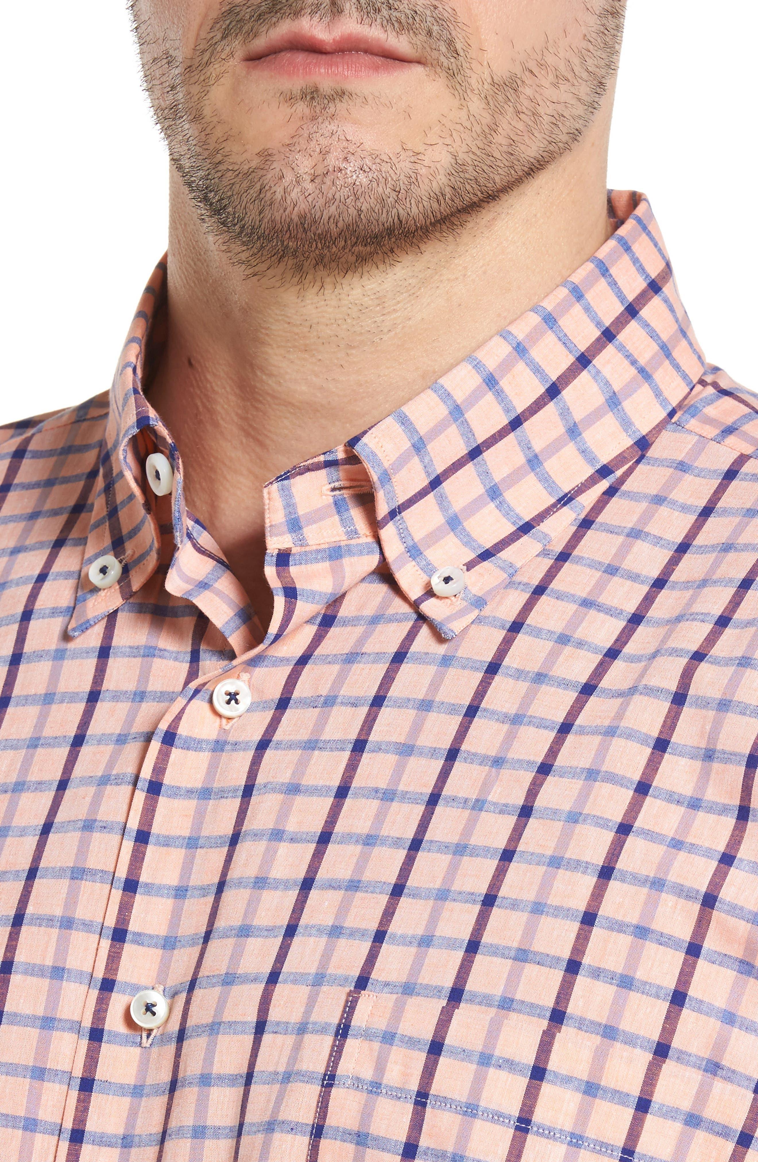 Estate Classic Fit Sport Shirt,                             Alternate thumbnail 4, color,                             Papaya