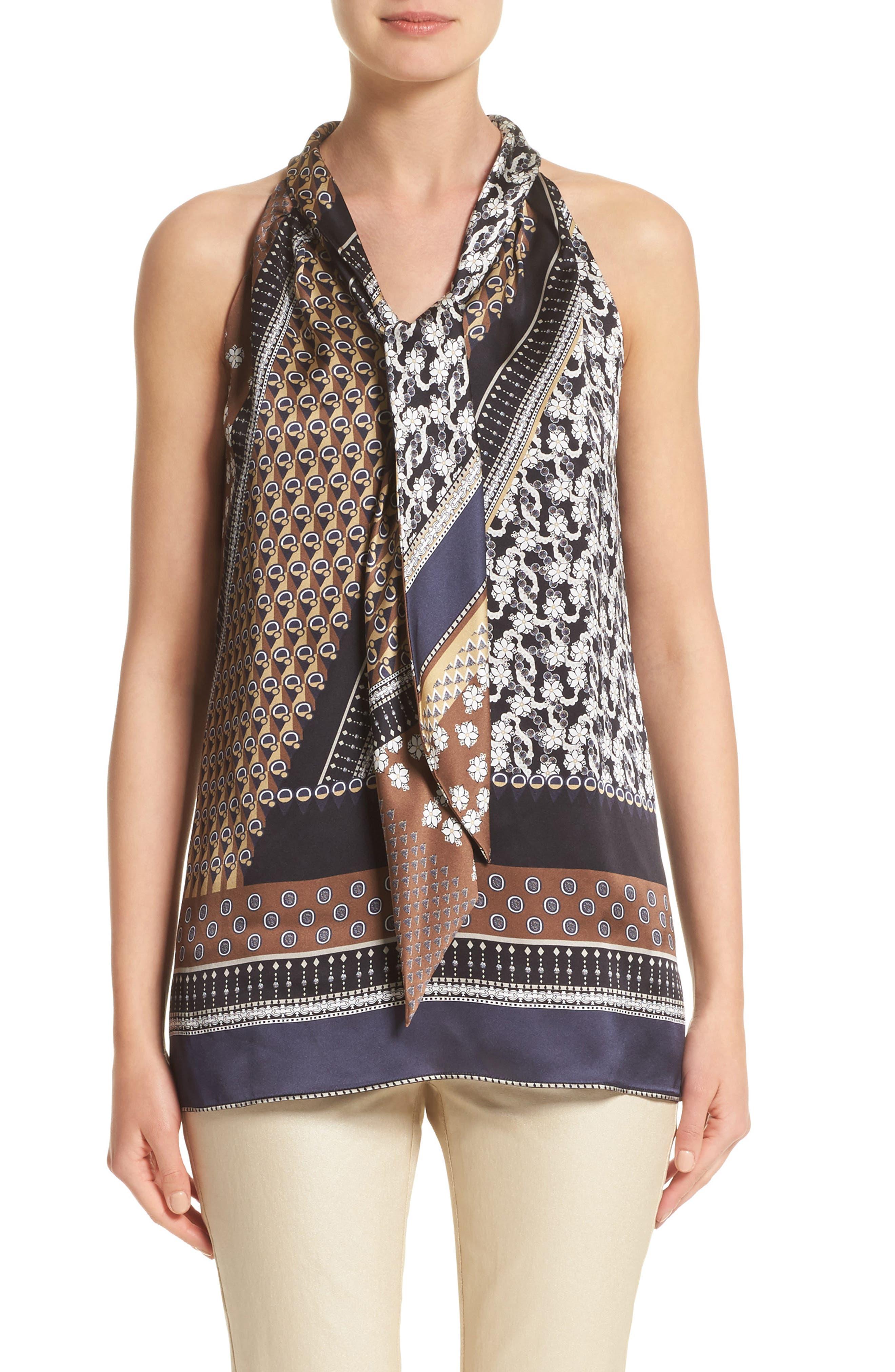 Julisa Silk Tie Neck Blouse,                         Main,                         color, Ink Multi