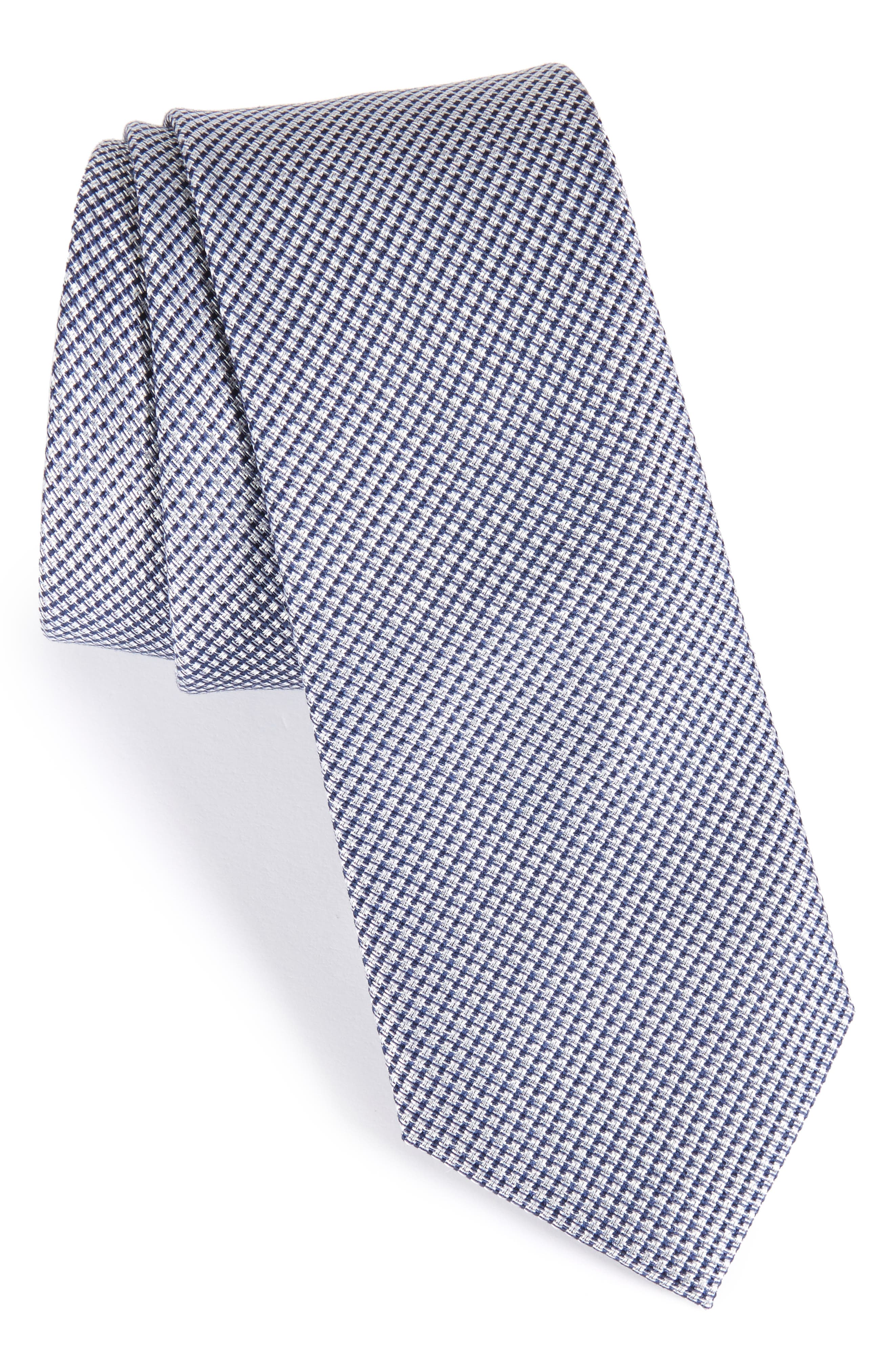 Solid Silk & Cotton Skinny Tie,                             Main thumbnail 1, color,                             Navy
