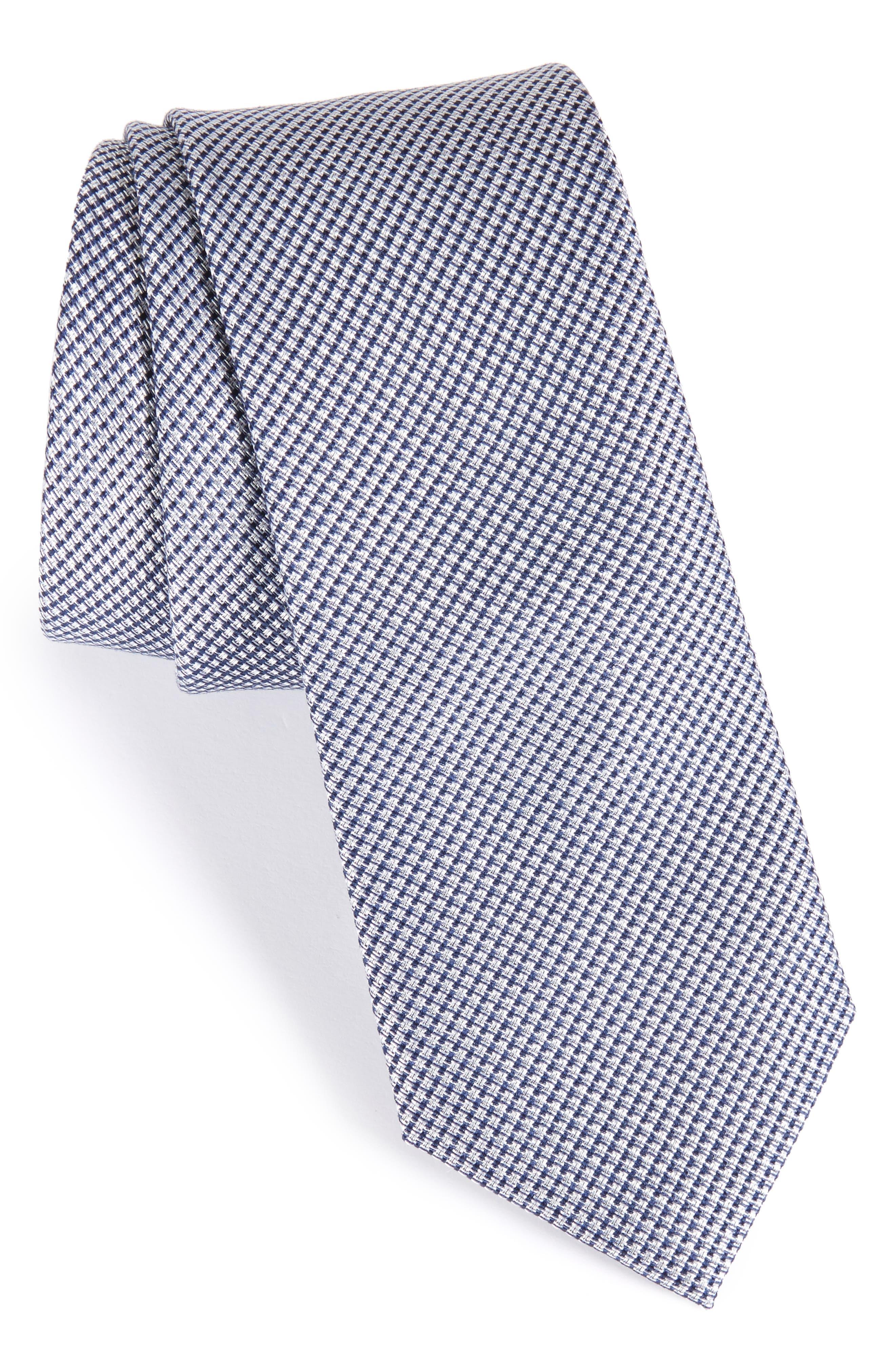 Solid Silk & Cotton Skinny Tie,                         Main,                         color, Navy