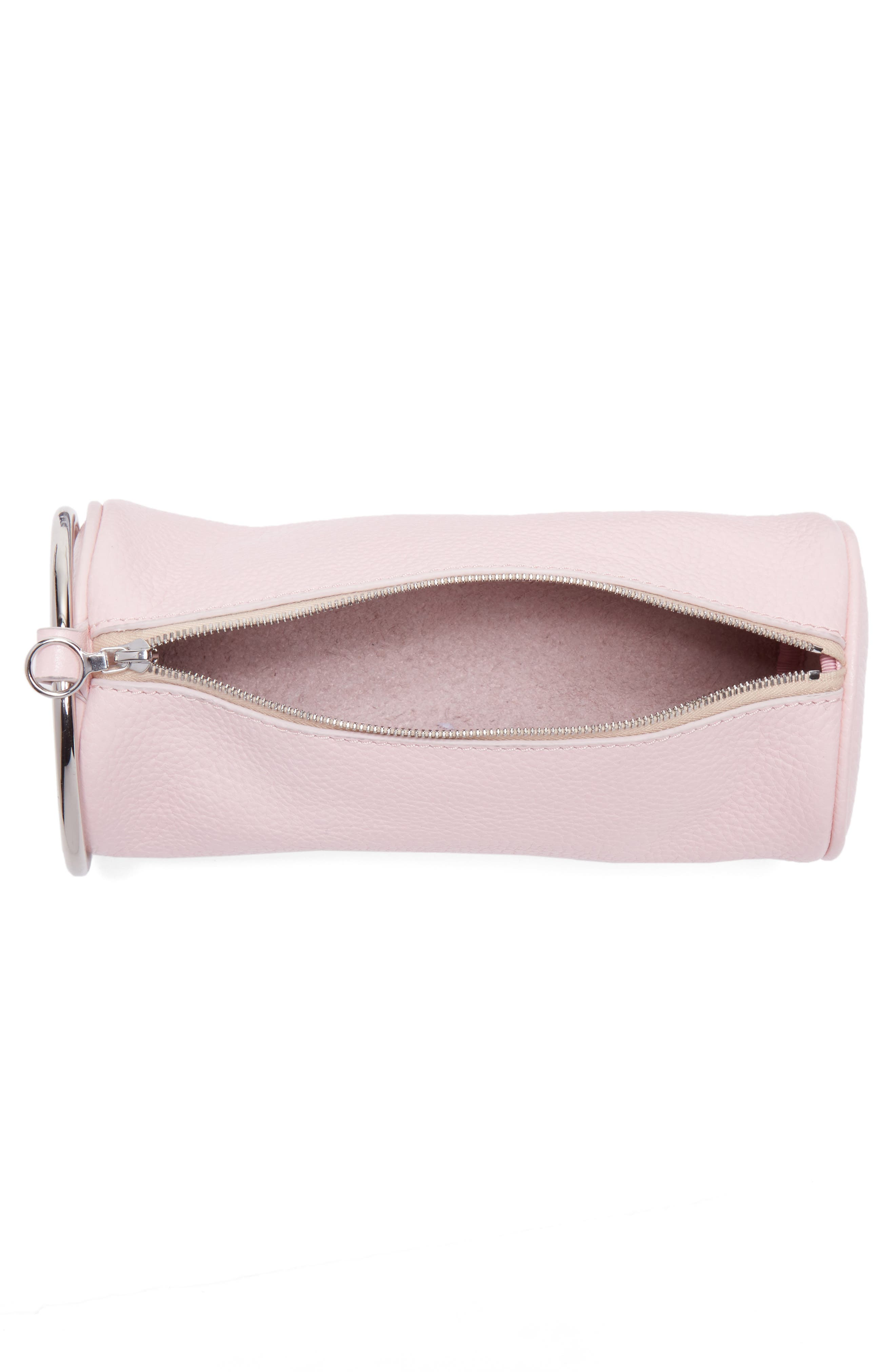 Pebbled Leather Duffel Wristlet Clutch,                             Alternate thumbnail 4, color,                             Blush Pink
