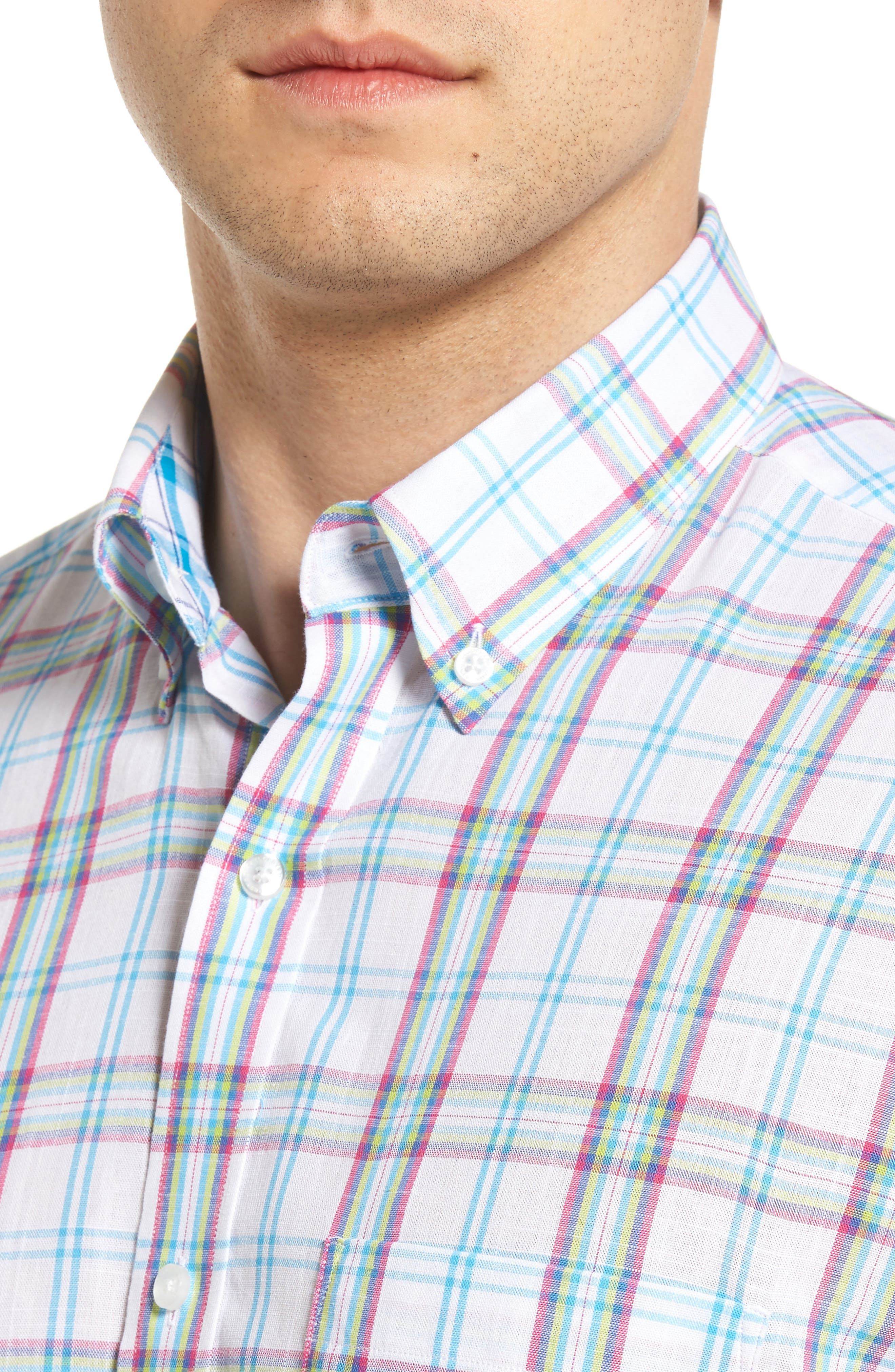 Alternate Image 4  - Tailorbyrd Monterey Regular Fit Short Sleeve Plaid Sport Shirt